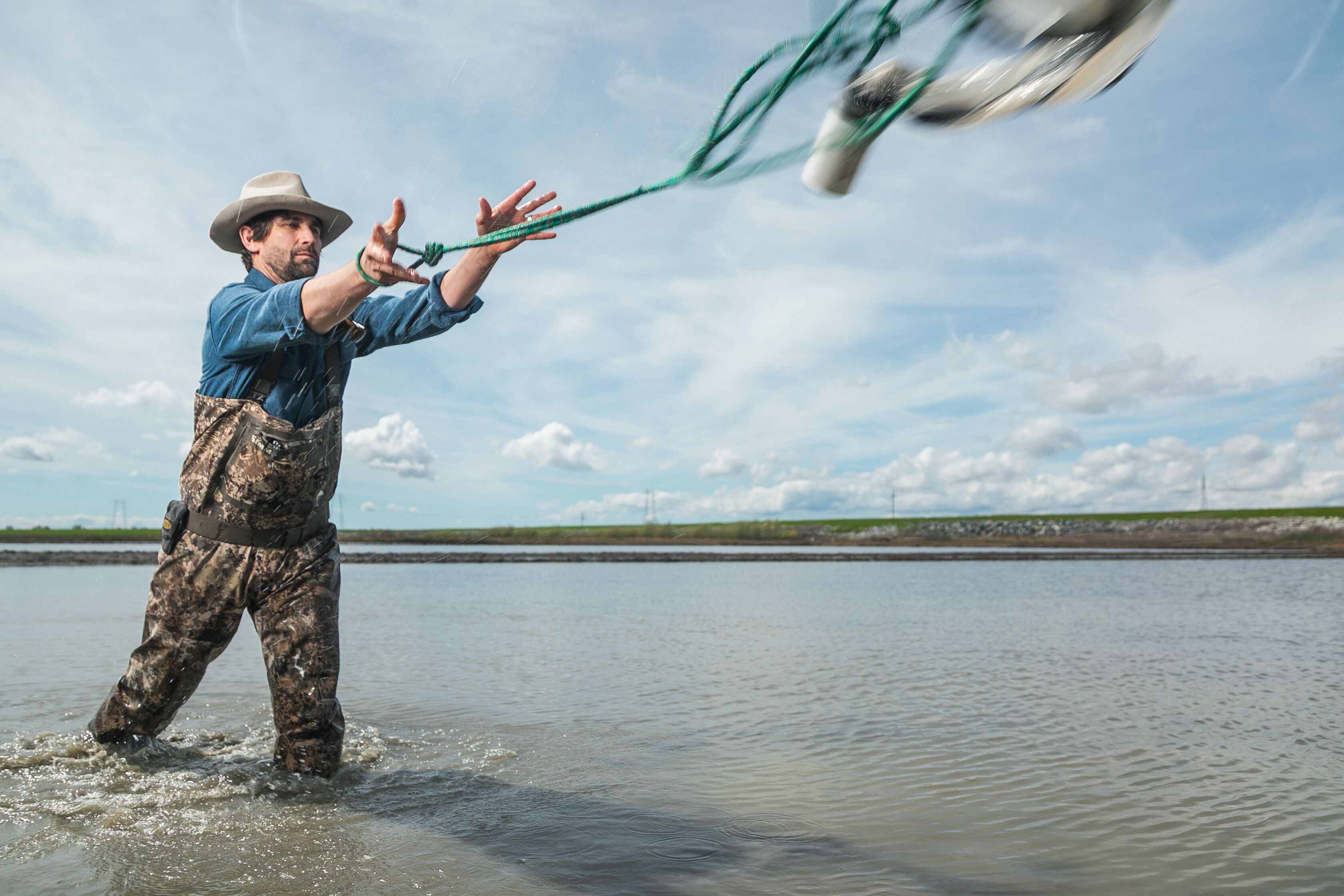 Jacob Katz throws a siphon to collect a water sample in a flooded rice field near the Sacramento River.