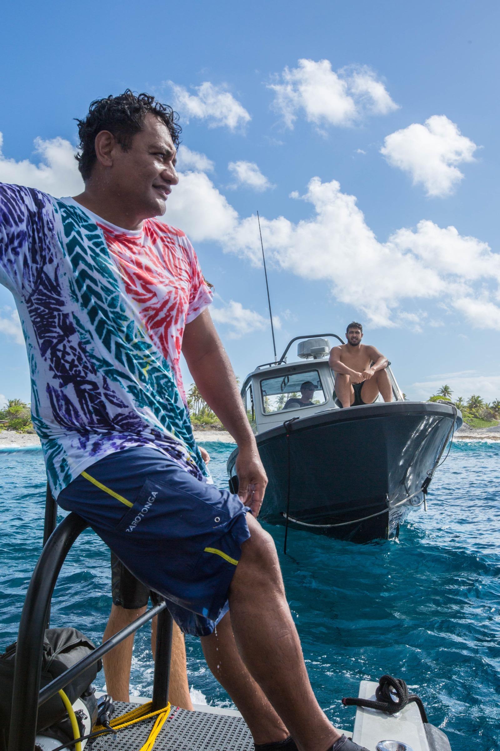 Teina Rongo takes a break between dives at Rarotonga. Photograph by Shayna Brody