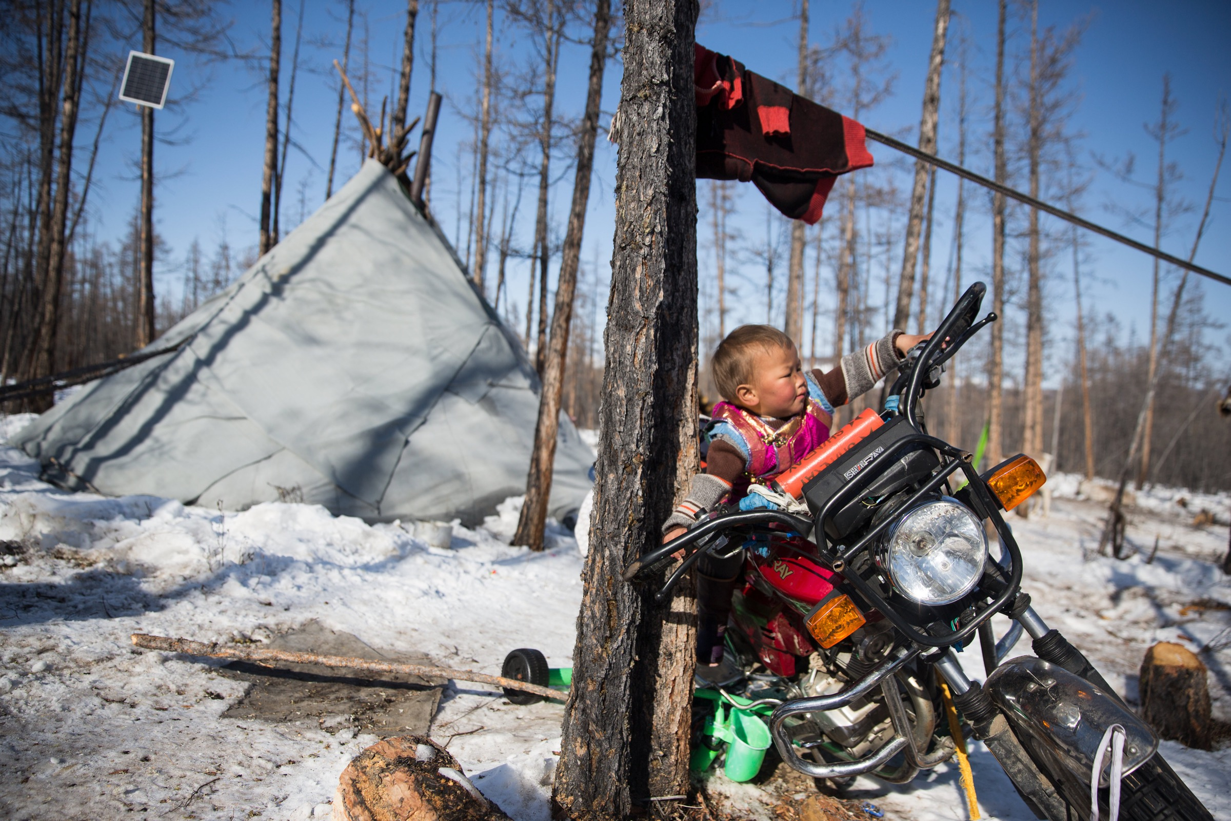 Reindeer aren't the only form of transportation in the taiga, though. Here, a child plays on a motorcycle just outside his family's teepee.