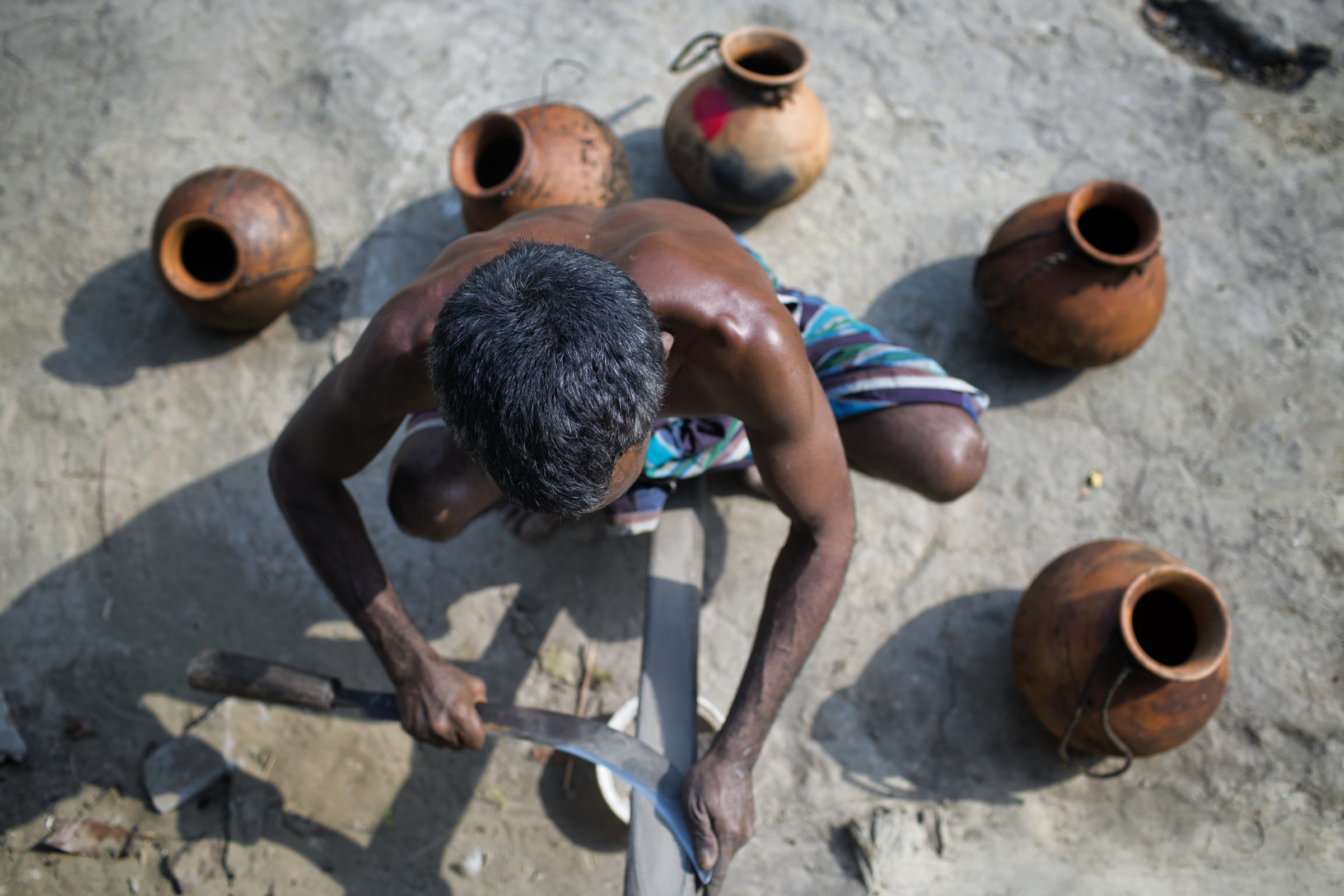 A <em>gachhi</em> sharpens the curved knife he will use to carve away the bark of date palm trees, which will cause the trees to ooze the sap the <em>gachhi</em> is interested in. Photograph by A.M. Ahad