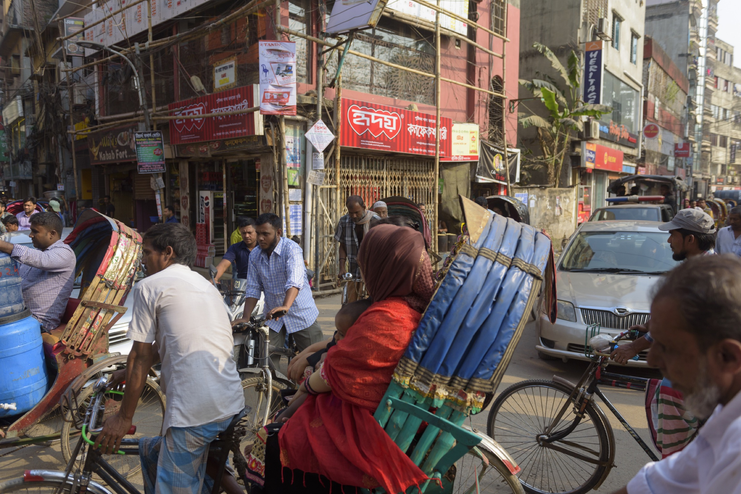 Heavy traffic in crowded streets of Dhaka, Bangladesh
