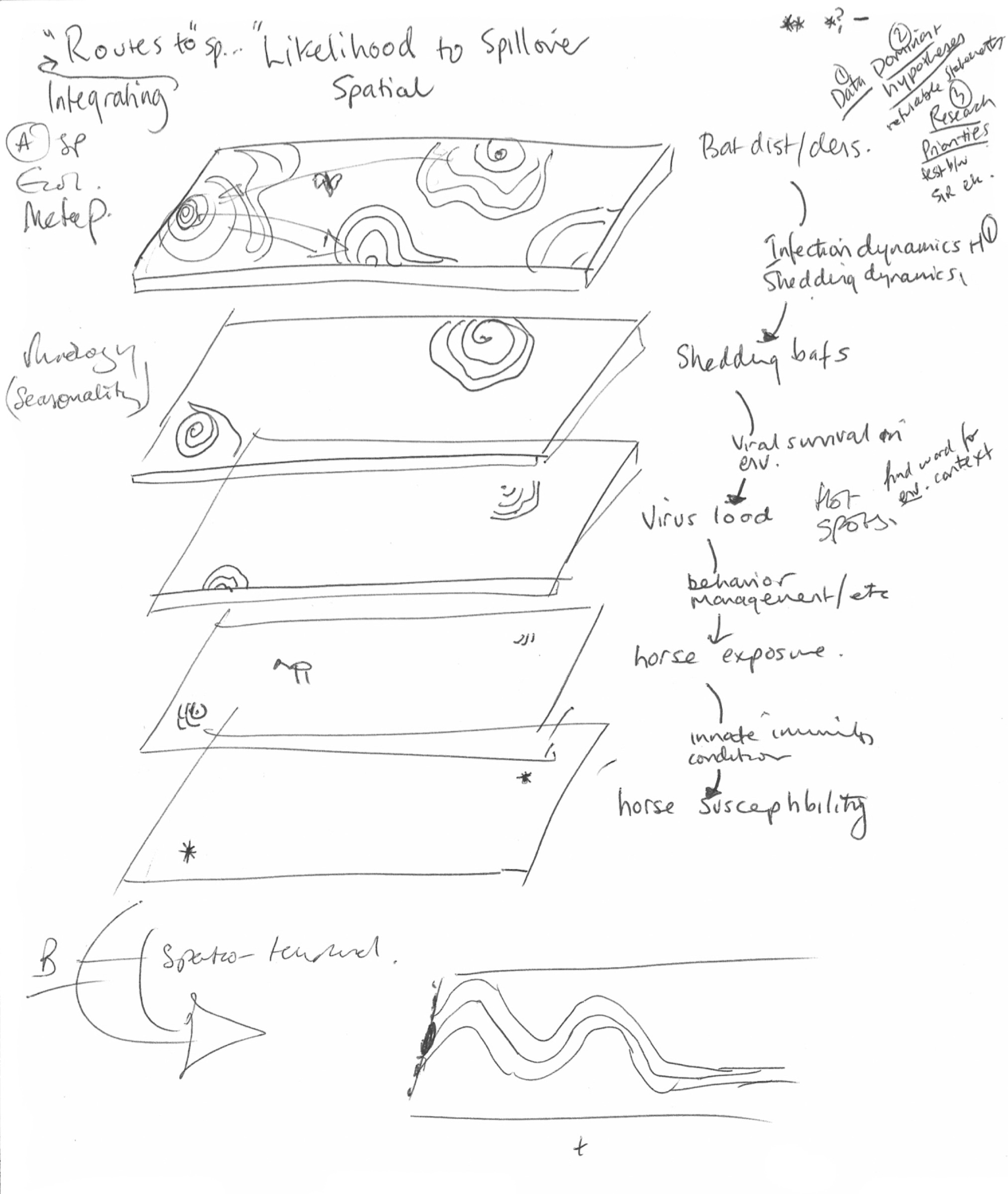 When Raina Plowright began to look at the many factors that influence the spillover potential of viruses like Hendra and Nipah, she began envisioning the route a virus must take as being punctuated by a series of layers whose holes can open or close to make transmission easier or harder. This is one of her early sketches of that concept.