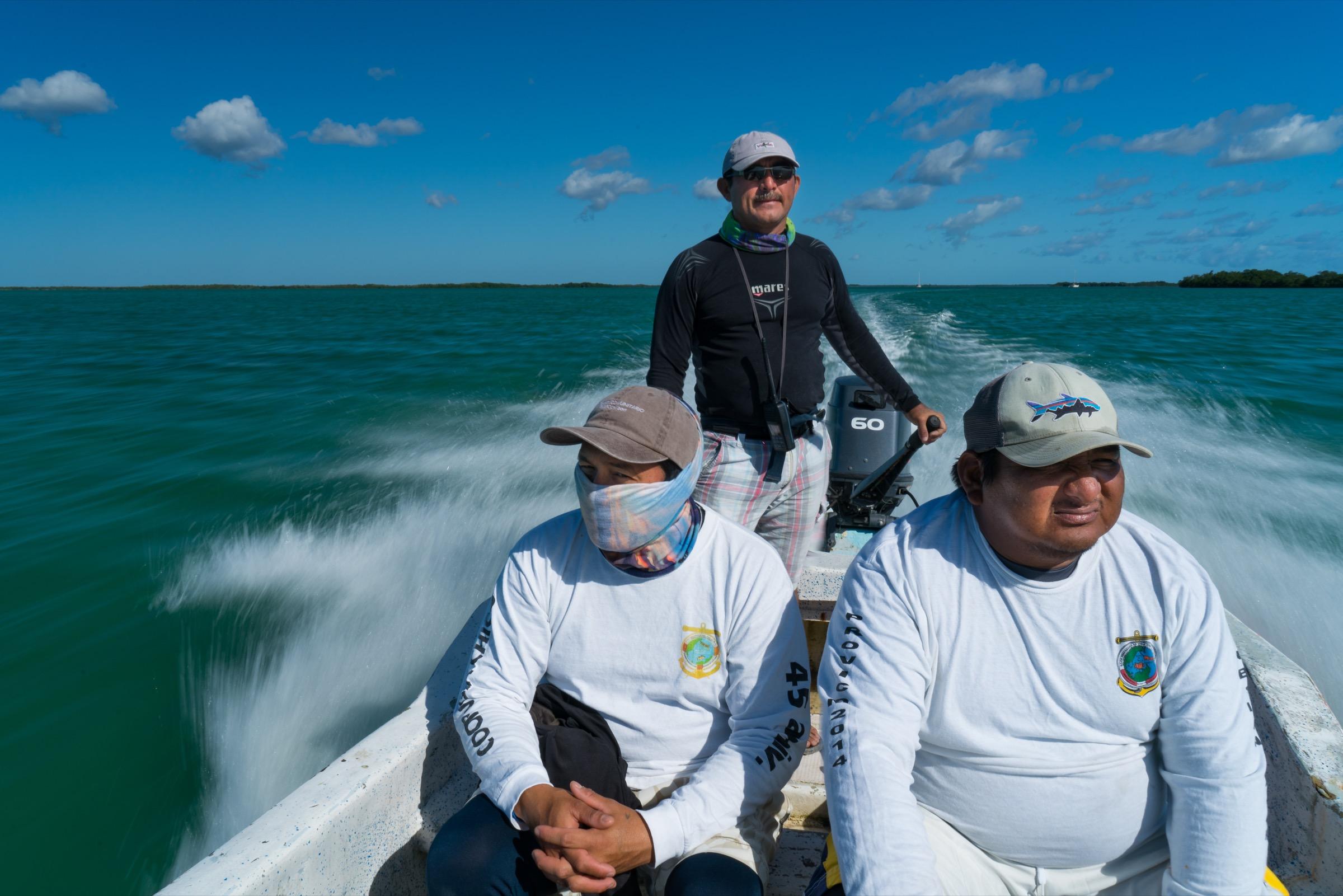 Emilio Pérez Mendoza captains his lancha off Punta Allen, Mexico. Photograph by Steve De Neef