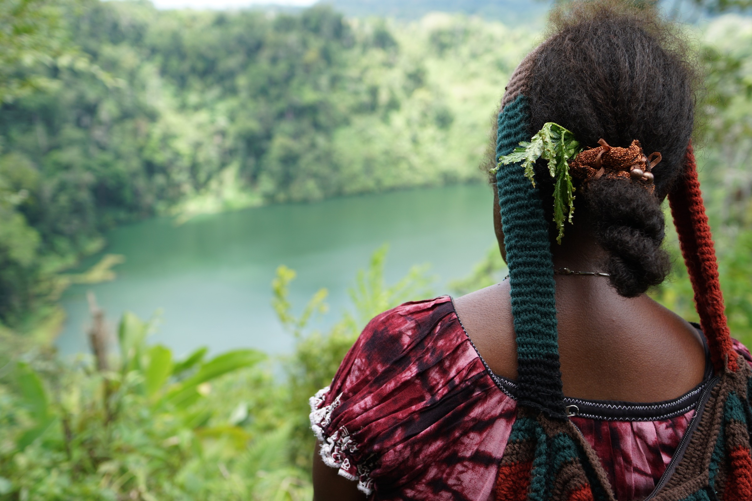 June Toneba, a Managalas Conservation Foundation board member, looks out over Dogaral Lake. Photograph by Ethan Linck