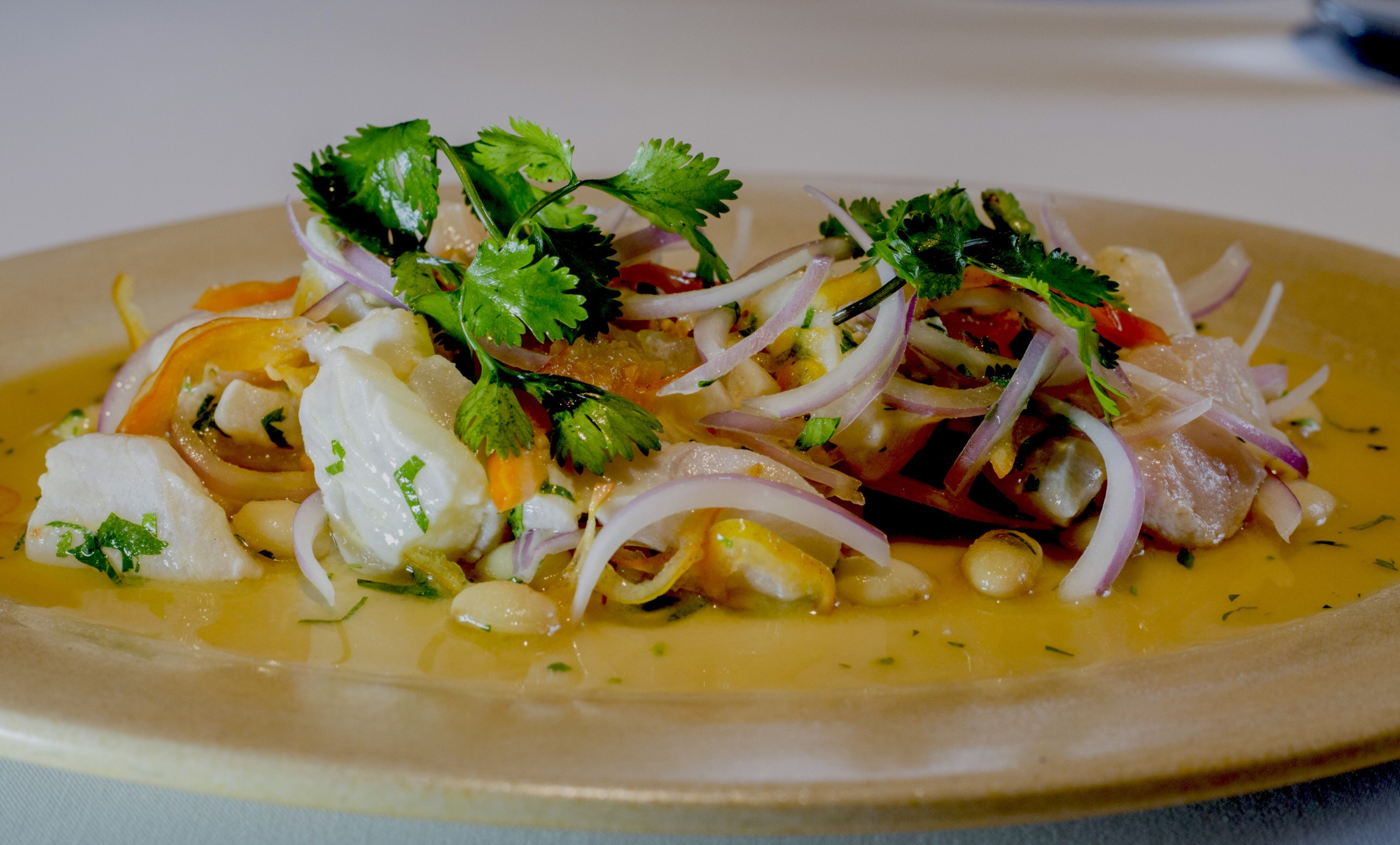 Malabar's ceviche featured tumbo, a tart, acidic fruit similar to passionfruit, rather than the traditional lime or lemon.