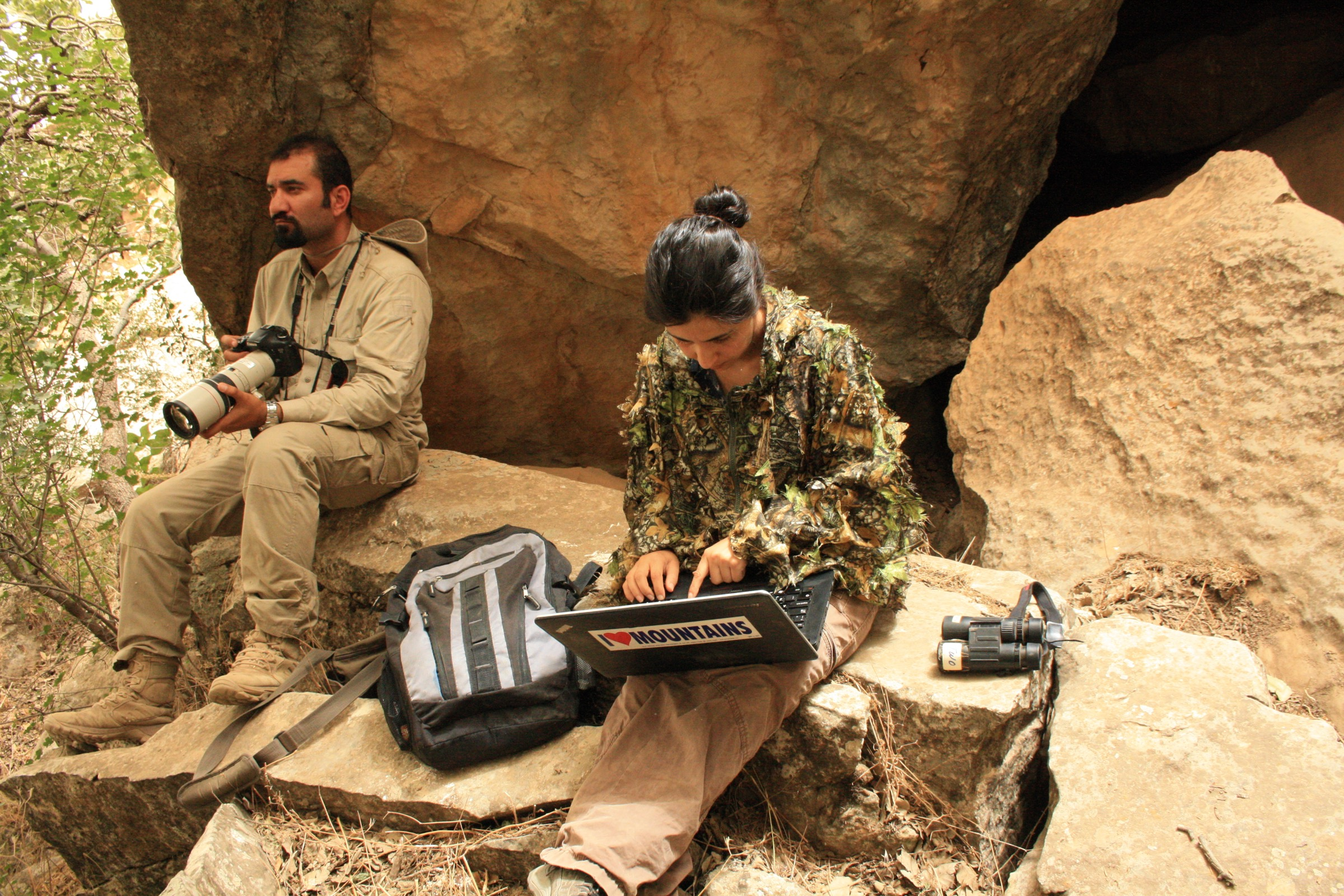 Hana Raza and Korsh Ararat take a break from surveying for endangered Persian leopards in Iraq. Photograph by Dishad Muhamad