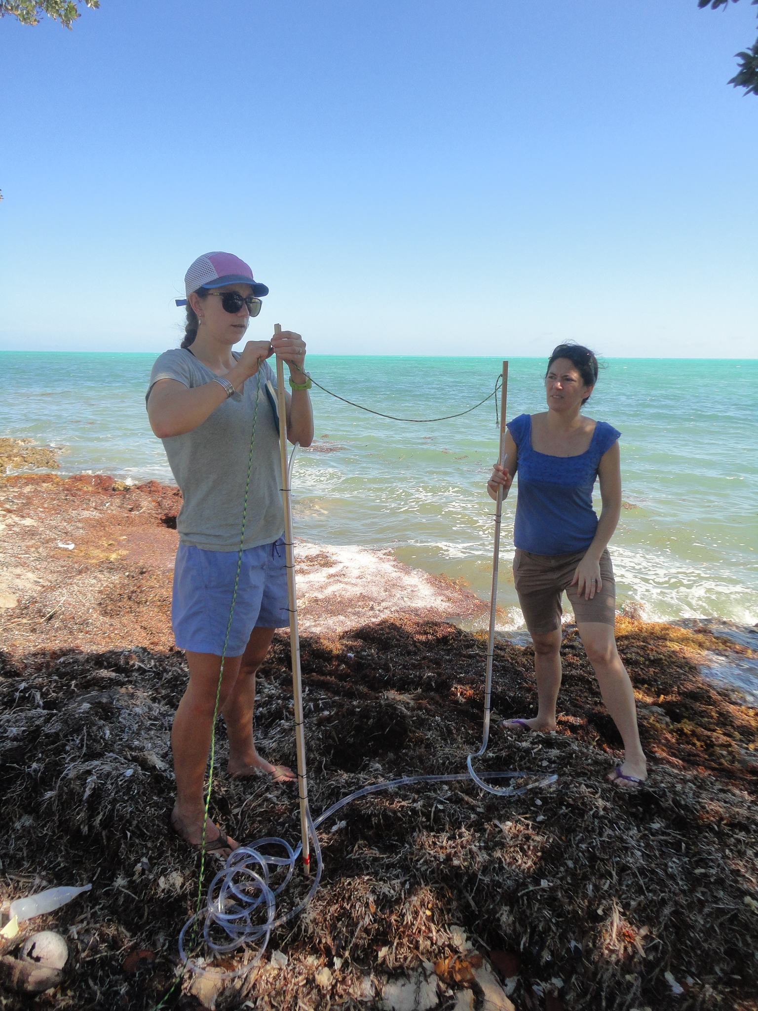 Katherine Wyatt (left) and Katie Arkema prepare to measure the slope along a section of Andros Island coastline. This is just one of numerous measurements the researchers take and then pour into computer models that help them make predictions about storm impacts and decisions about development. Photograph by David Brian Butvill