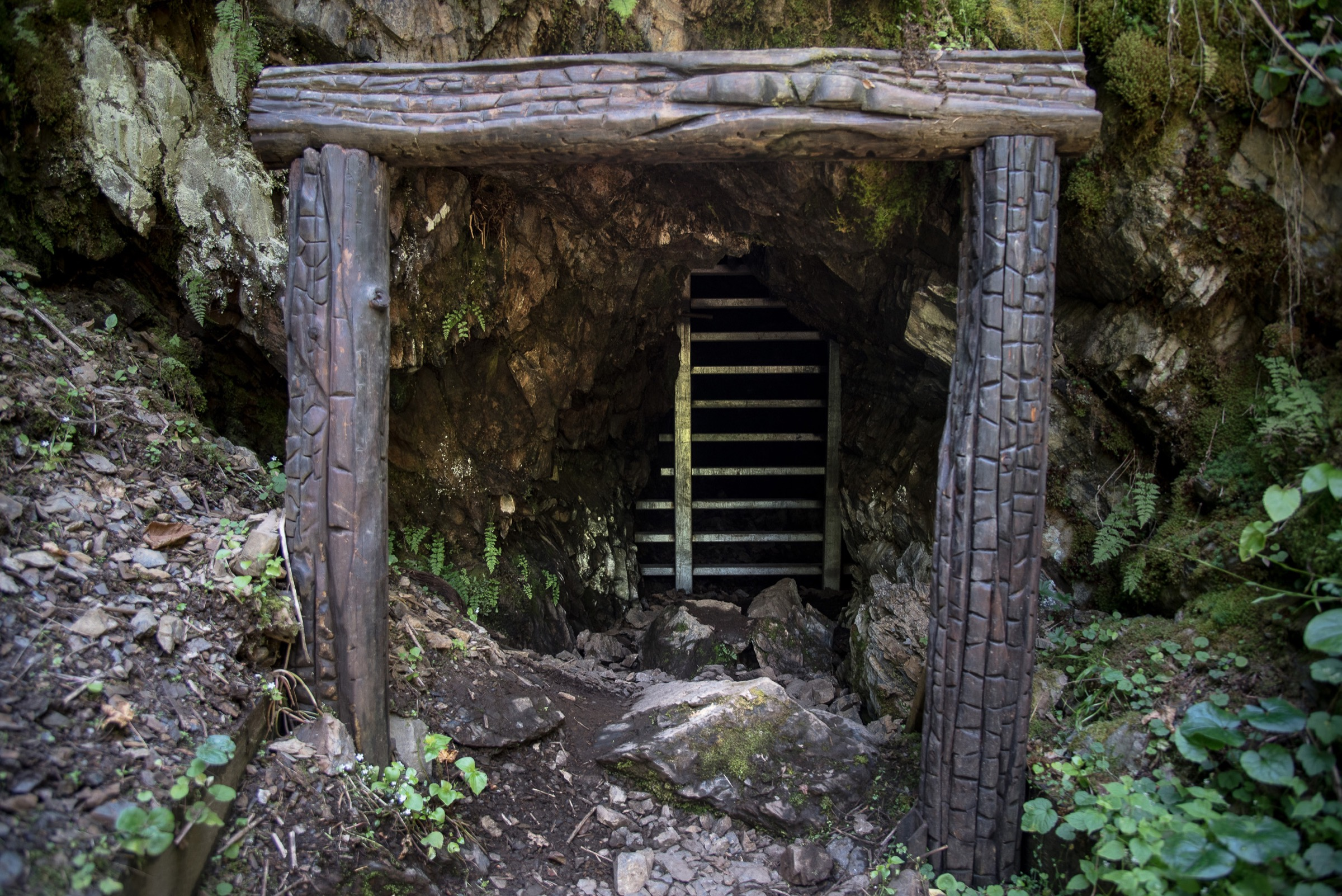 The mine shaft in which Ed Pulaski led his fire crew to escape the big burn outside of Wallace, Idaho in 1910. Photograph by Michael Kodas