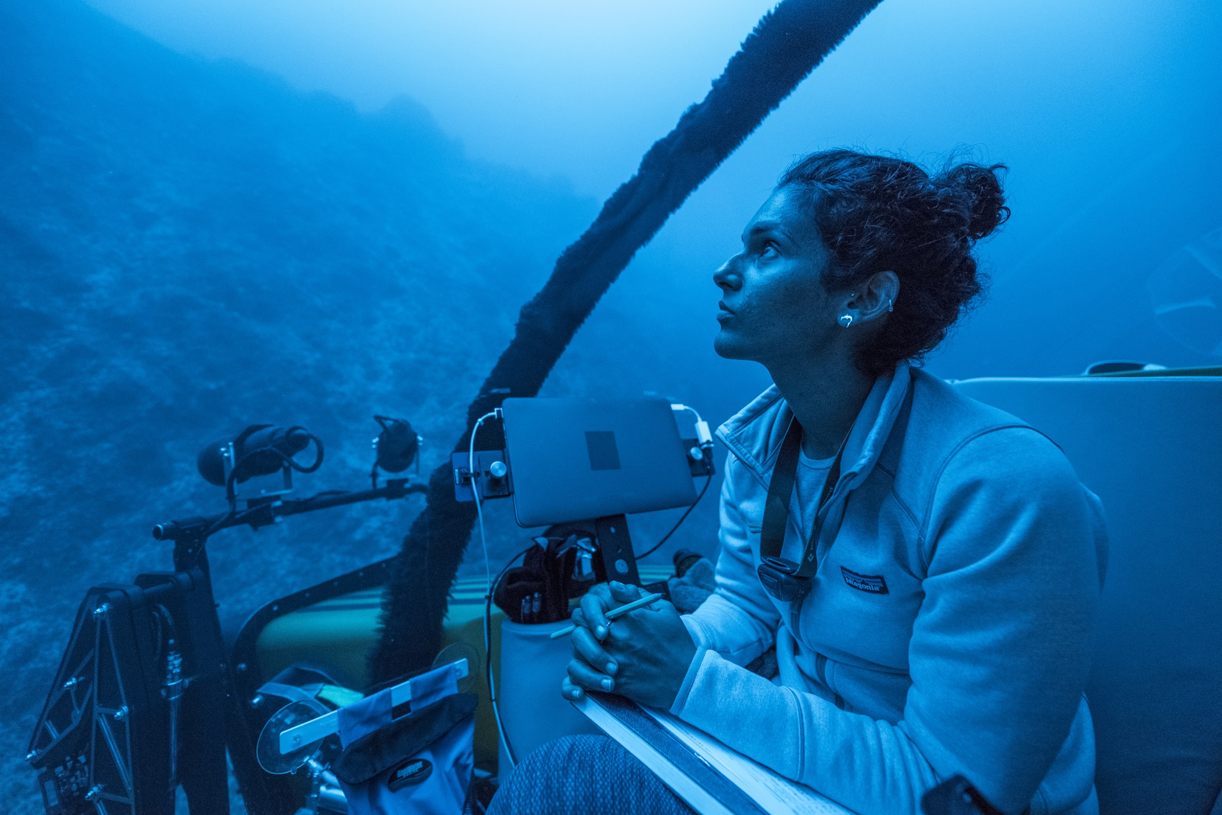 Diva Amon, a deep-sea biologist from the Natural History Museum of London, UK, takes in her surroundings as the submersible Nadir descends into the deep ocean near Saint Peter and Saint Paul Archipelago. Photograph by Novus Select