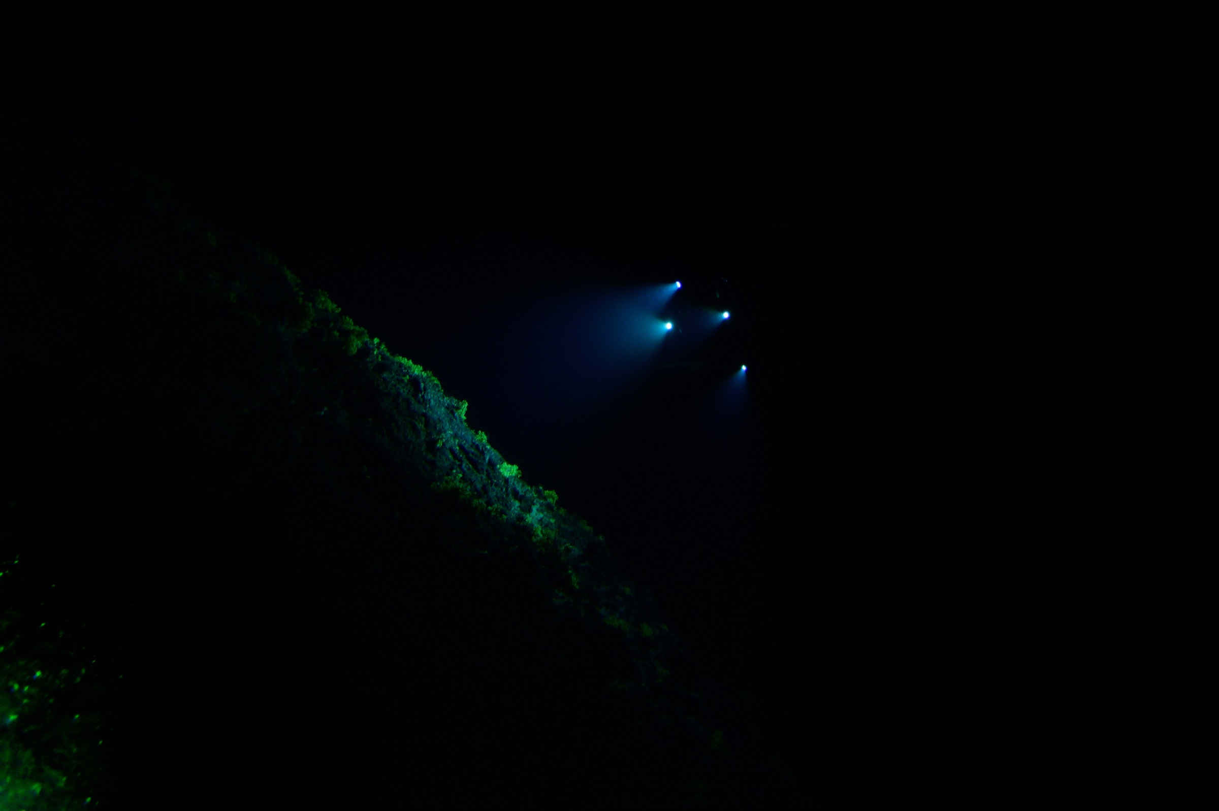 Little is visible below a depth of 500 meters, except the lights of the submersible Deep Rover exploring off the coast of Saint Peter and Saint Paul Archipelago. Photograph by Solvin Zankl