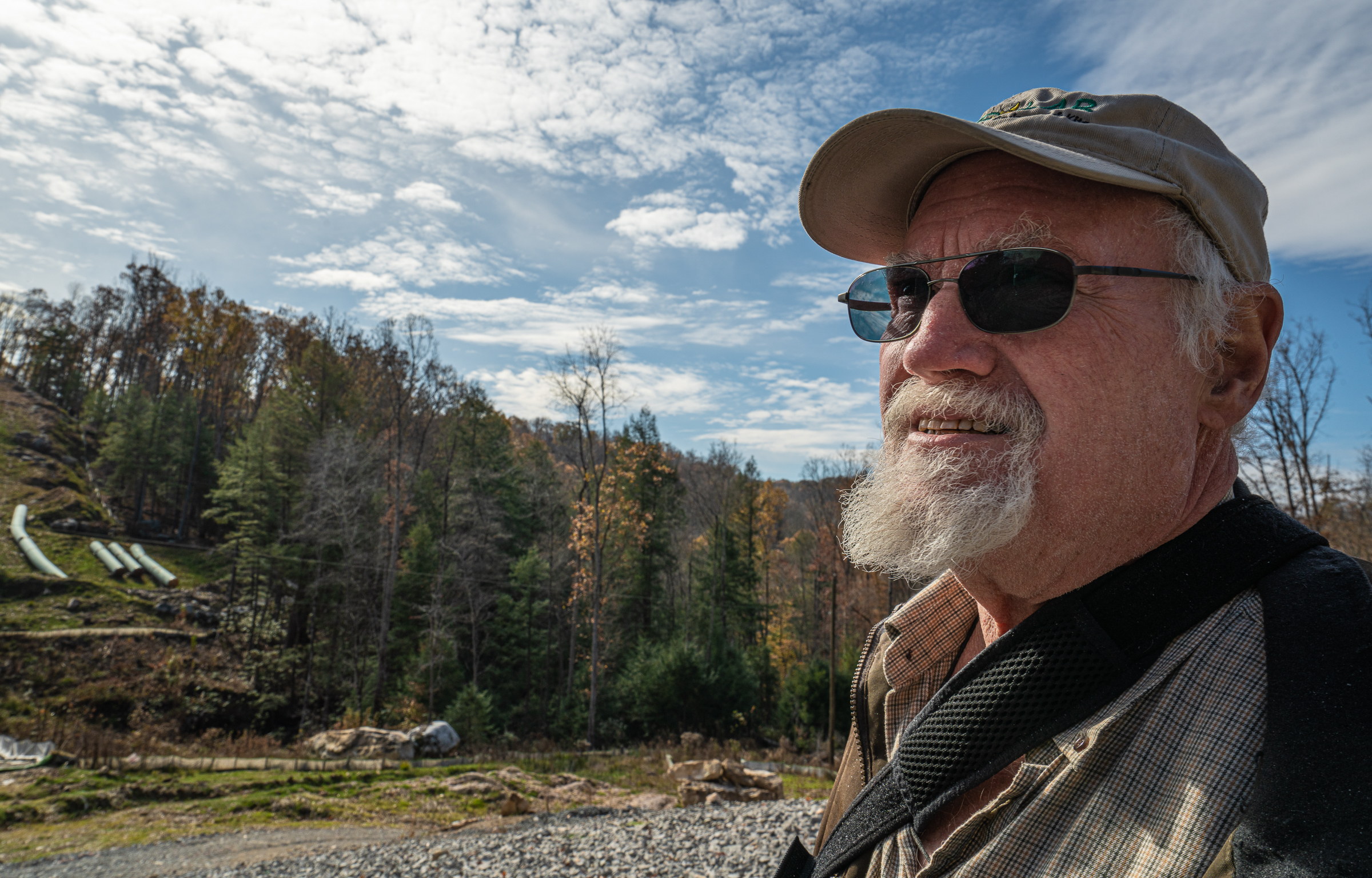 Retired oil-and-gas worker Kevin Campbell discusses his concerns about one of many Atlantic Coast Pipeline construction sites in Buckhannon, West Virginia. Photograph by Steven David Johnson