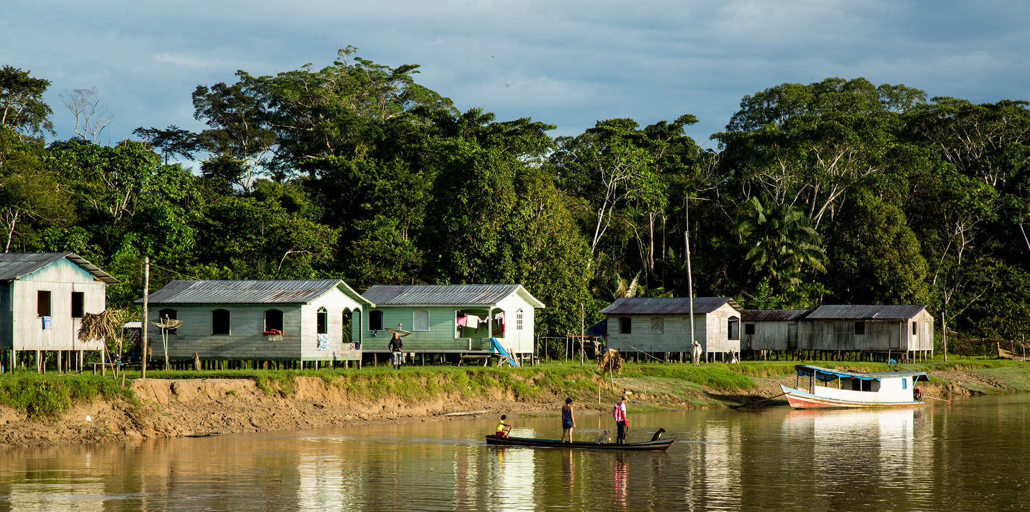 Villagers cross the river to attend school on the opposite banks of the Rio Liberdade.
