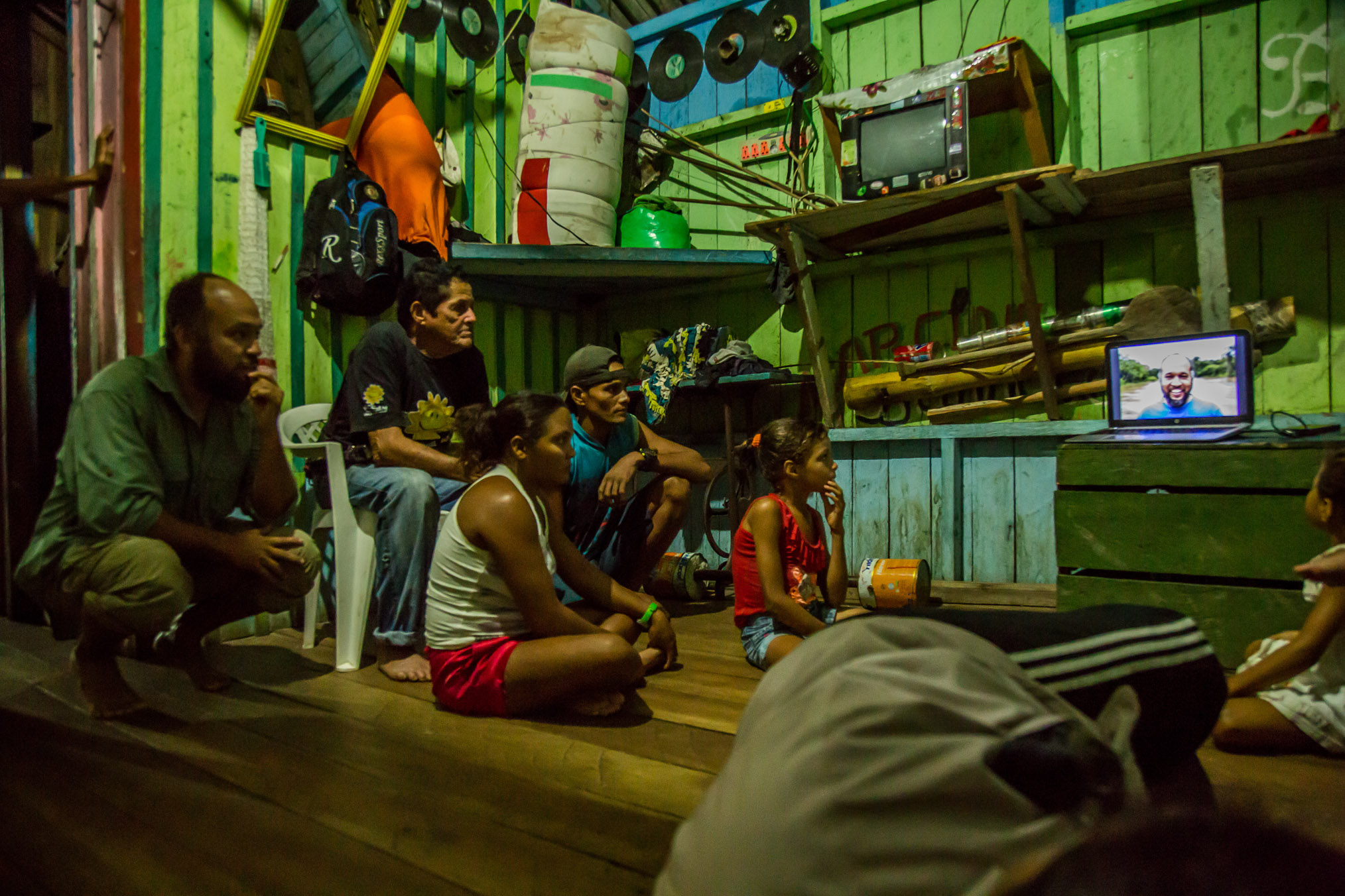 In each community, the scientists show a video with photos and drone footage from the ongoing expedition to help educate locals about their work in the surrounding forest.