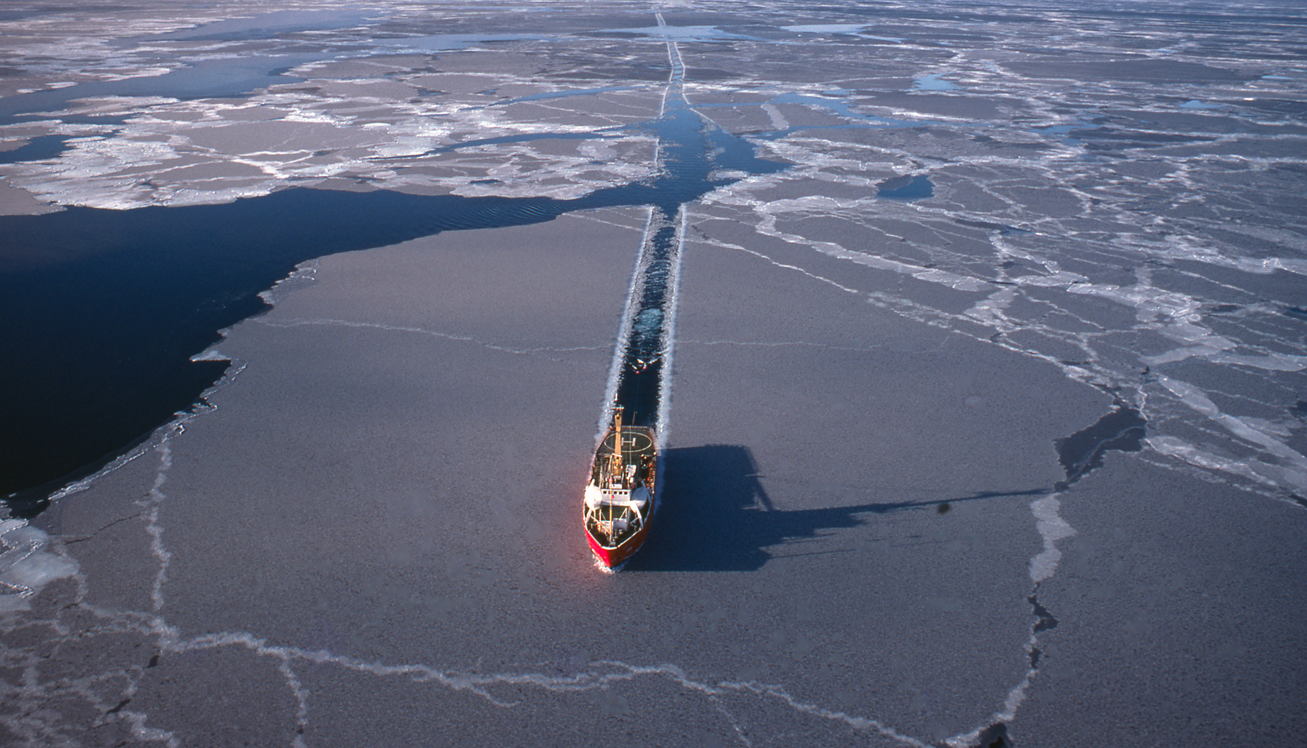 An icebreaker plows through Arctic waters. The U.S. has just two icebreakers compared to Russia's 41. Photograph by westphalia/Getty Images