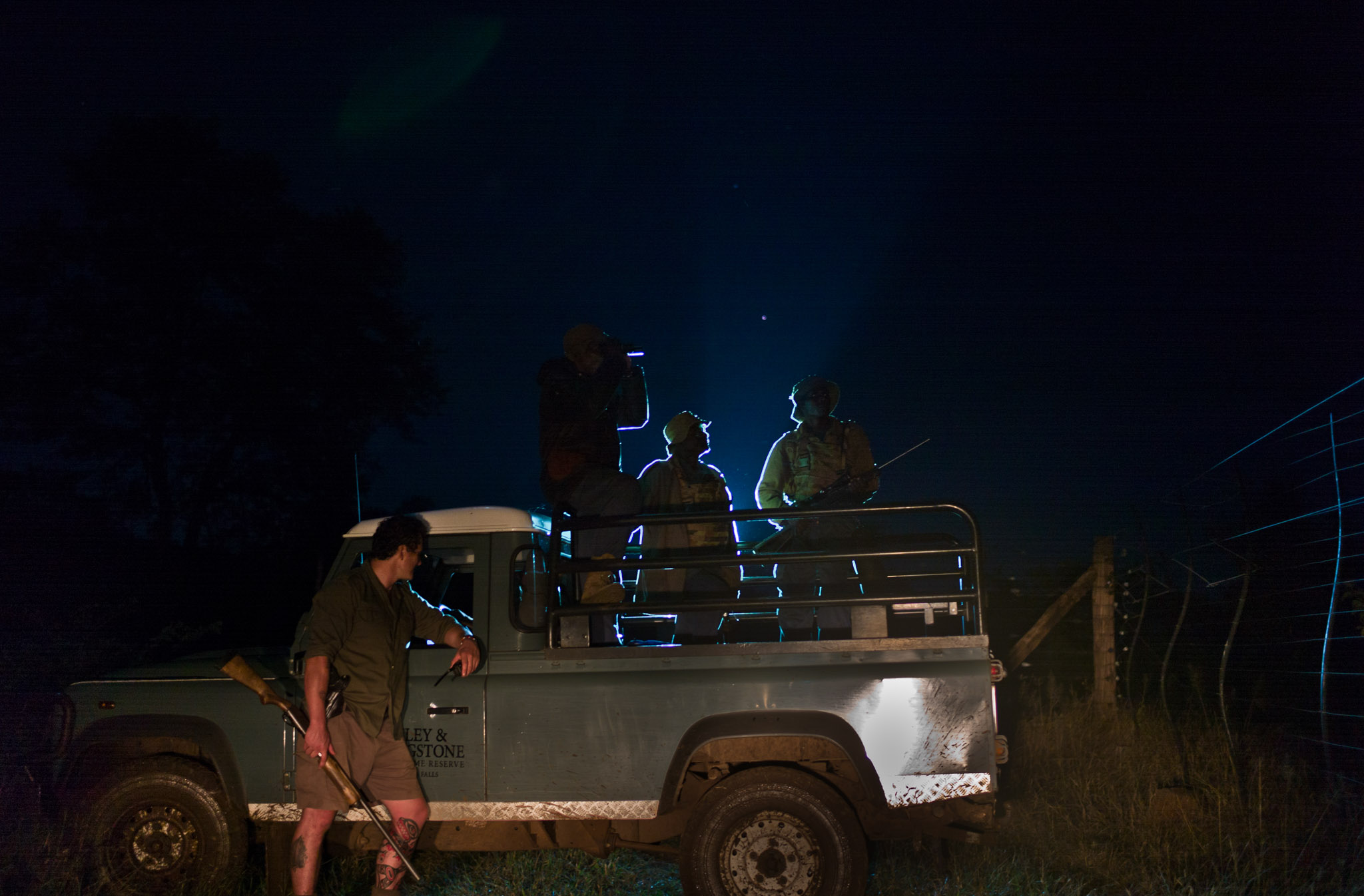 Damien Mander drops rangers off for their nightly patrol in Zimbabwe. Photograph by Erico Hiller