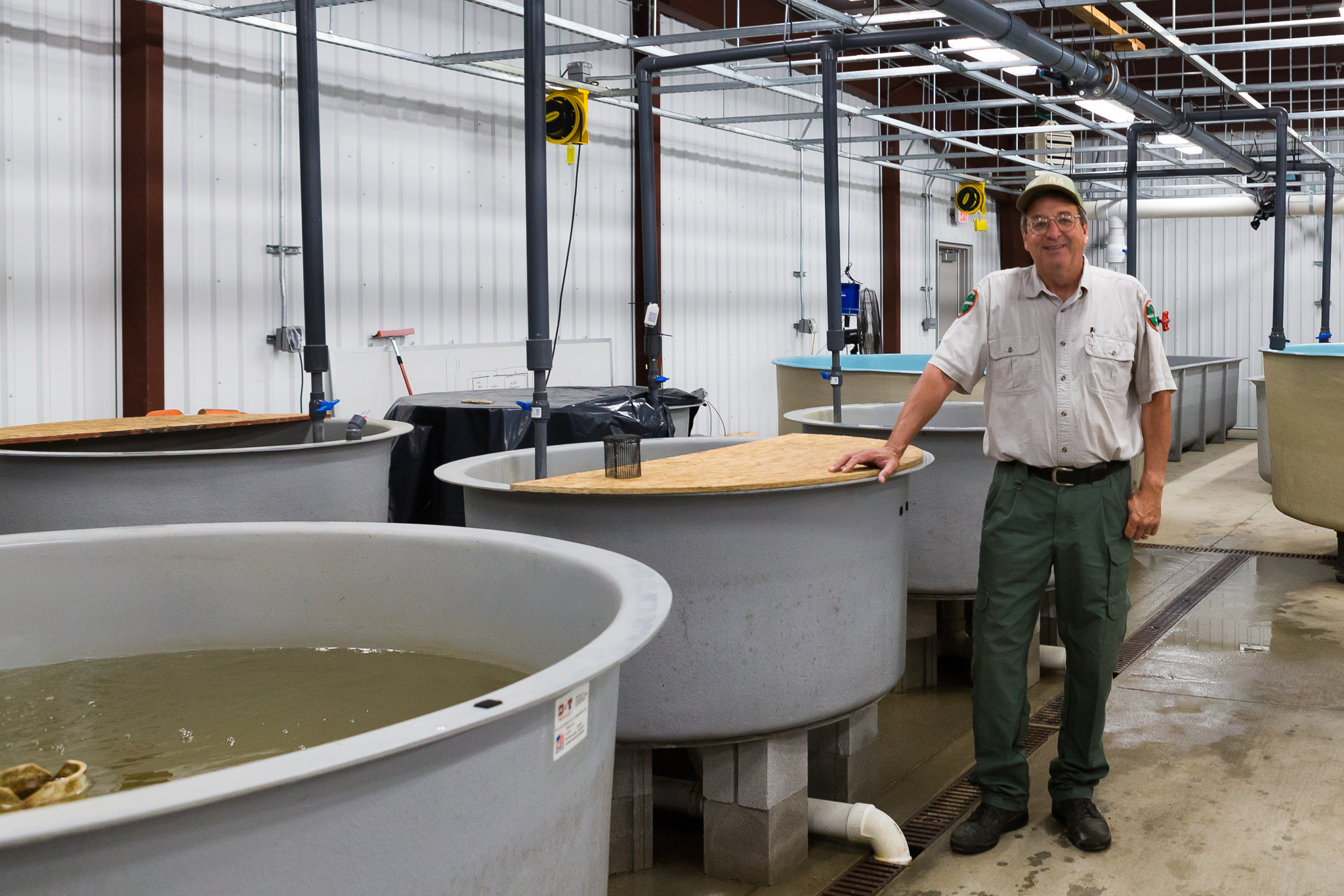 David Sims at the Cumberland Aquatic Center where he's working to reestablish breeding populations of endangered freshwater mussels—photograph by Kathryn Whitney