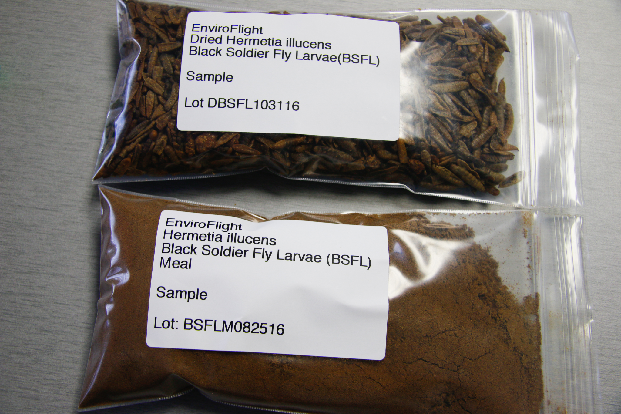EnviroFlight currently produces two products: dried whole larvae and powdered larvae.