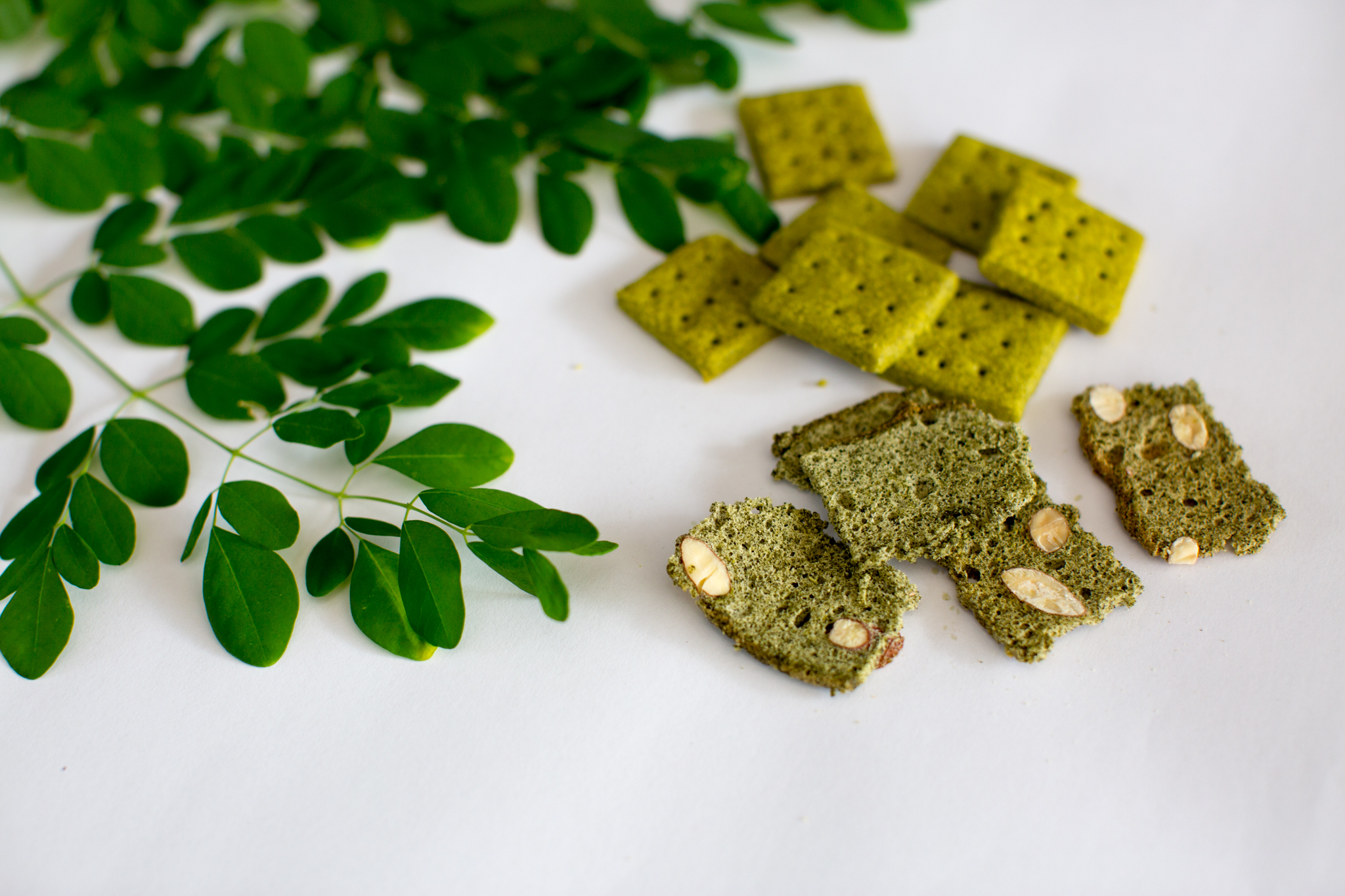 Leaves of a moringa plant and a selection of products made from the moringa