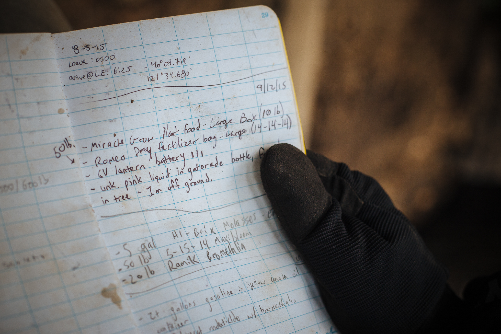 A researcher's notebook lists the chemicals left behind at an illegal grow site on public land.