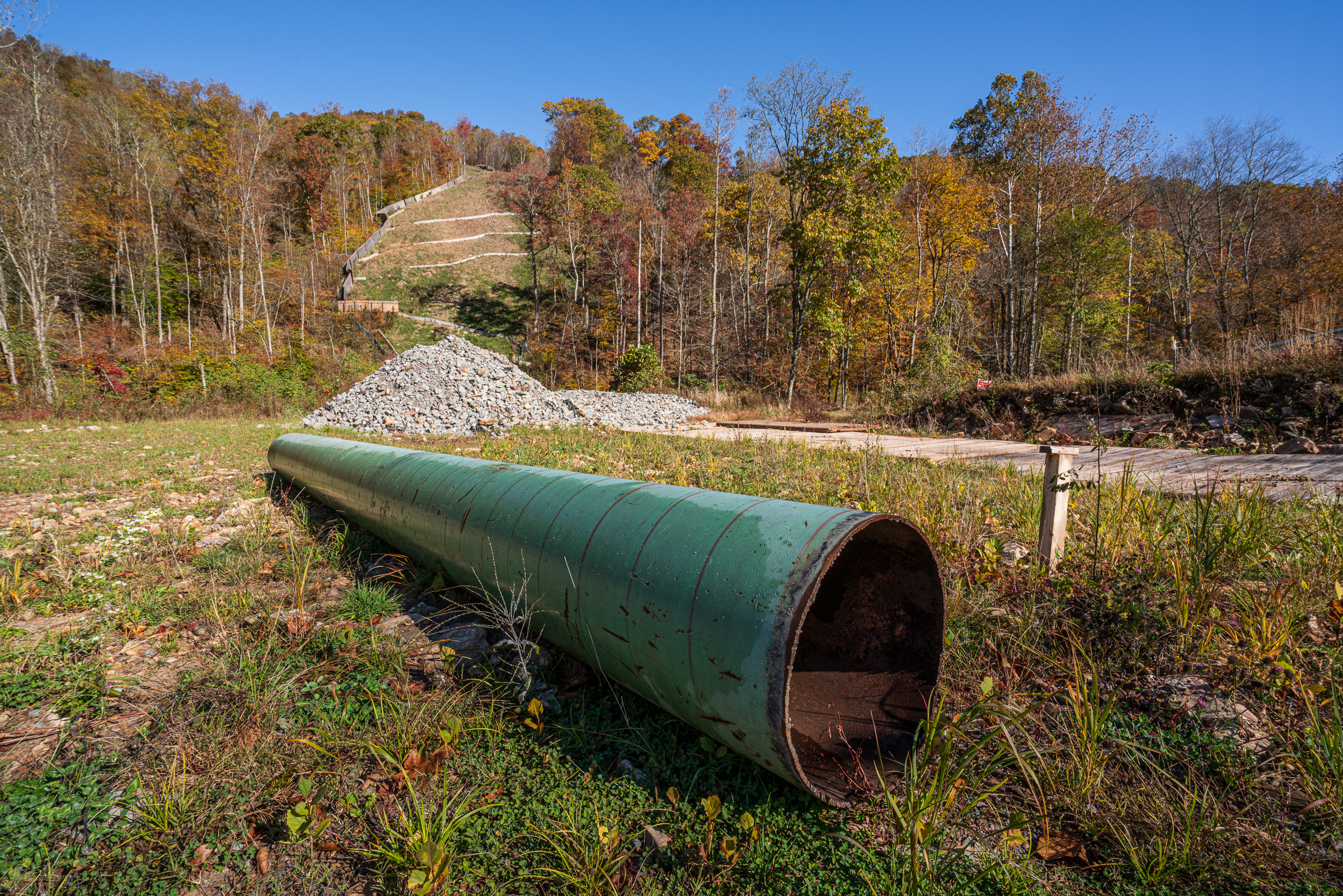 The construction of the pipeline has frequently been placed on hold due to environmental and health concerns. Photograph by Steven David Johnson