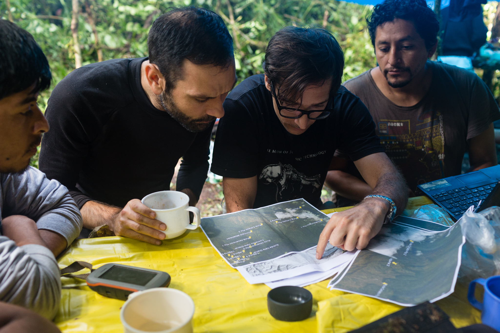 At Camp 2, José Padial discusses the route forward with his team. Photo by Andy Isaacson