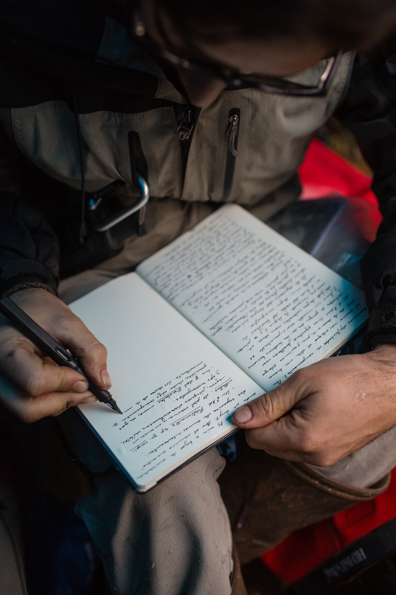 José Padial records the day's observations in his field notebook. Photo by Andy Isaacson