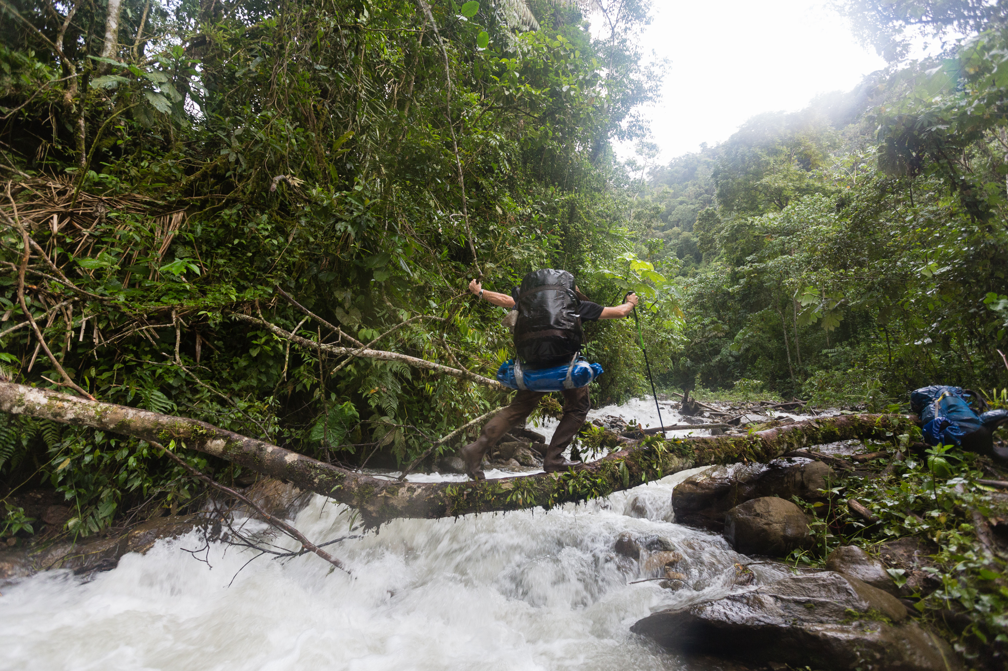 José Padial negotiates a perilous bridge crossing over the Sevishari Tiver, along the track between Camps 1 and 2. Photo by Andy Isaacson