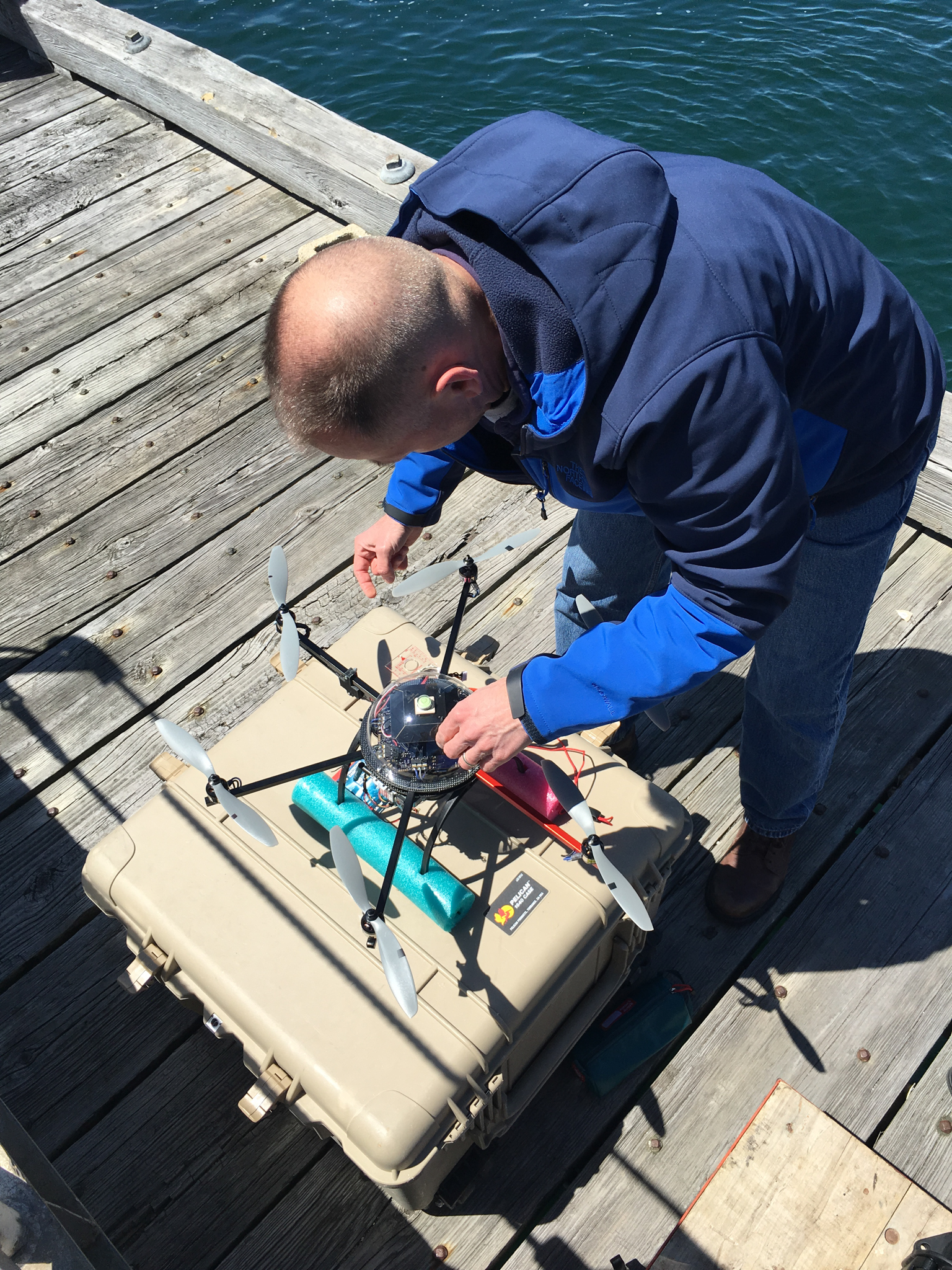 Mike Jech prepares the NOAA drone (Ginger) for launch, Woods Hole, Massachusetts. Photo by Nicola Twilley