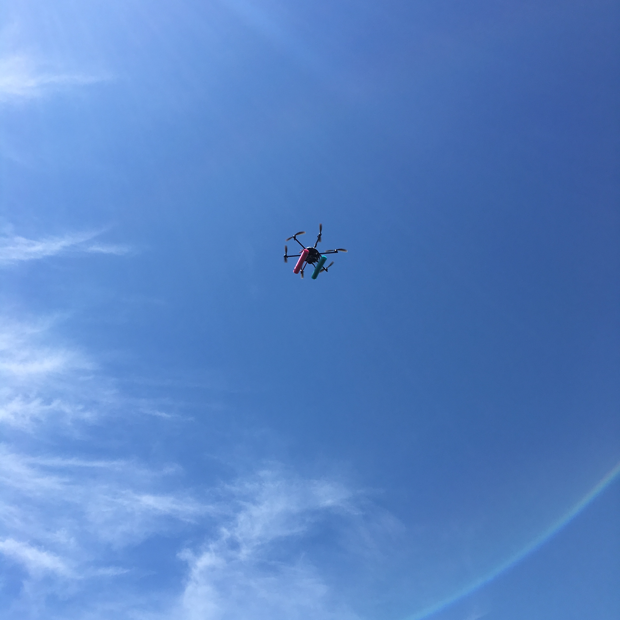 The NOAA drone (Ginger) quickly gains altitude above Woods Hole, Massachusetts. Photo by Nicola Twilley