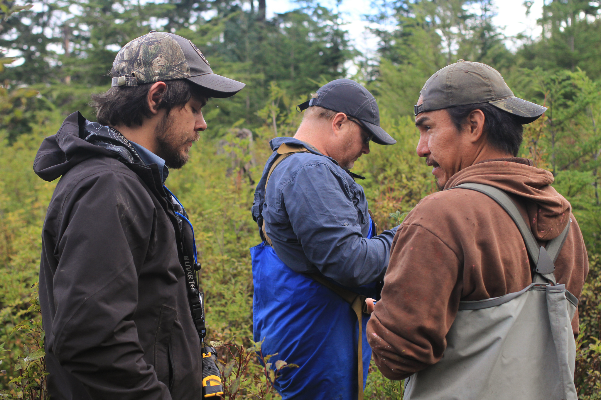 From left, Donovan Smith, Bob Christensen, and Phillip Sharclane prepare to survey an old clearcut on Sealaska land for the Hoonah Native Forest Partnership on Southeast Alaska's Chichagof Island.