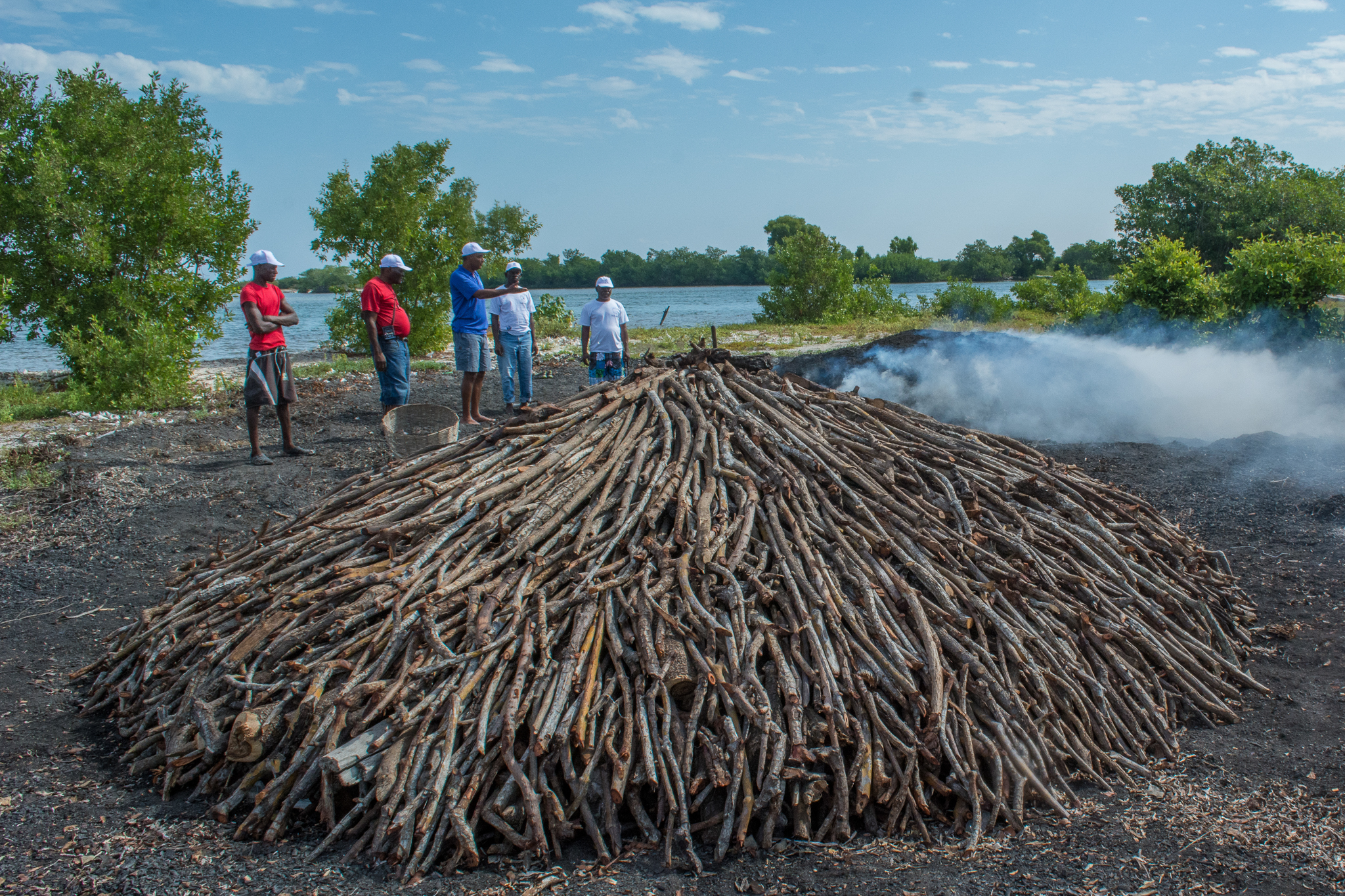 The high demand for charcoal is one of the biggest threats to mangroves. Charcoal ovens like these are used to convert mangrove roots and branches into fuel. ©2016 Jean Wiener.
