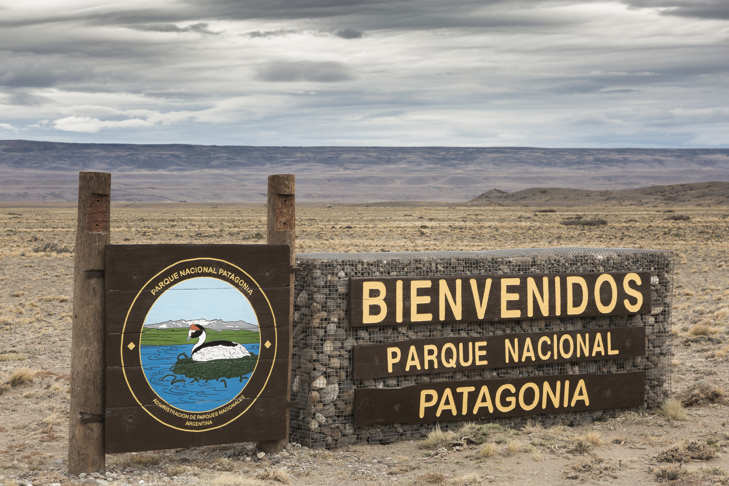 The recently established Patagonia National Park incorporates critical breeding habitat for the hooded grebe on the Buenos Aires Lake Plateau, seen in the distance.