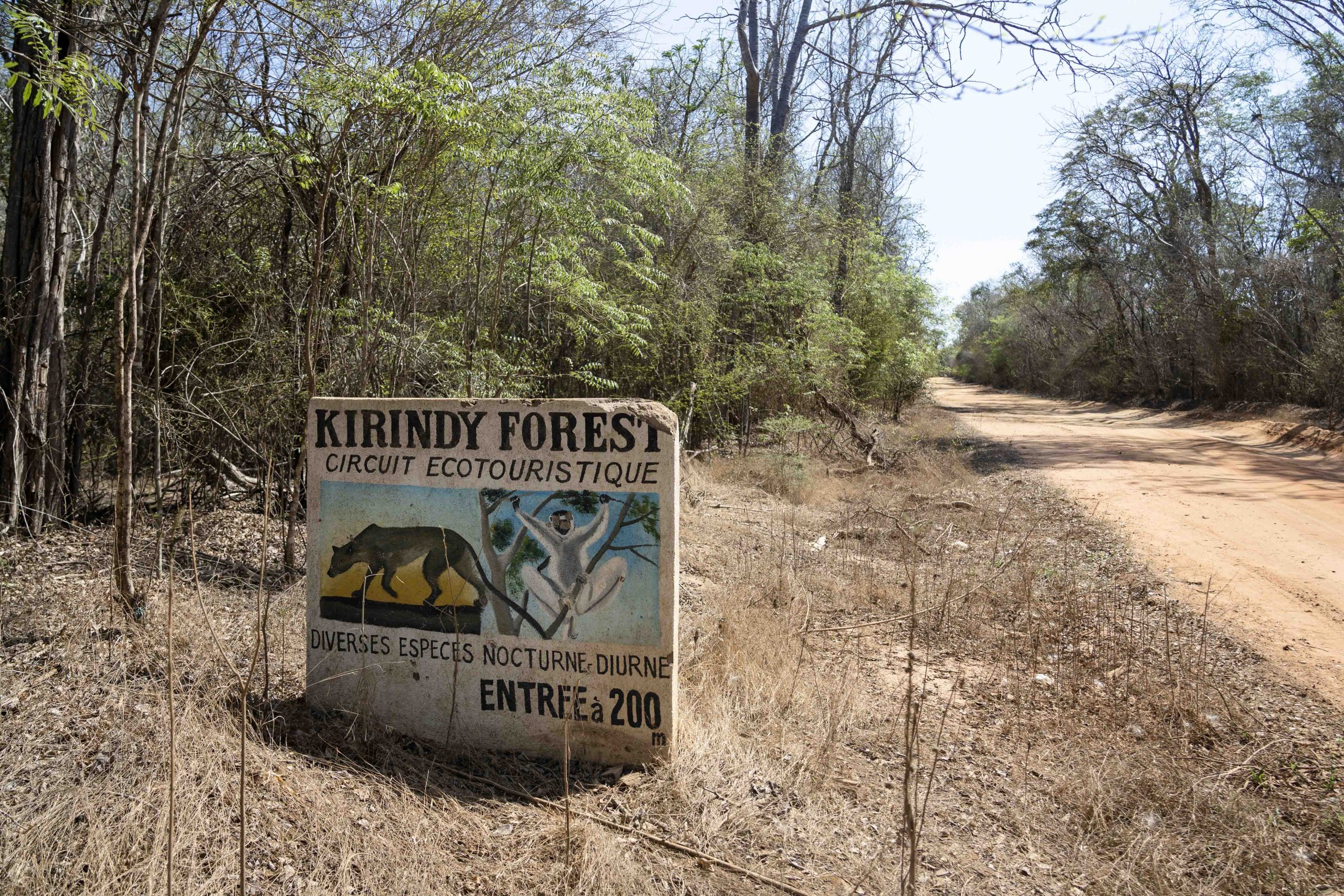 A sign marks the entrance to Kirindy Forest, a private reserve on the western coast of Madagascar.
