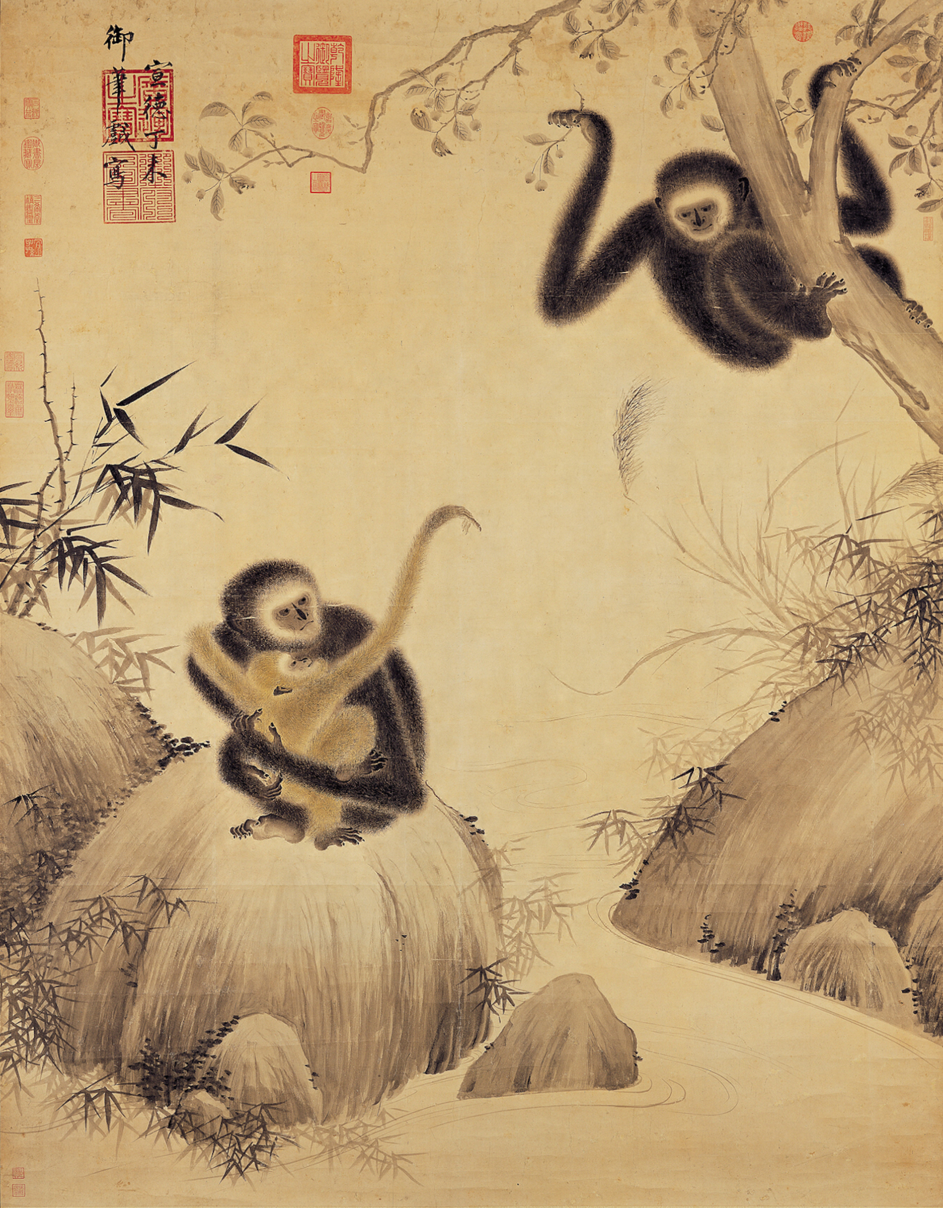 A painting of three gibbons attributed to Ming dynasty emperor Zhu Zhuanji (ca. 1399-1435). Image courtesy of the National Palace Museum