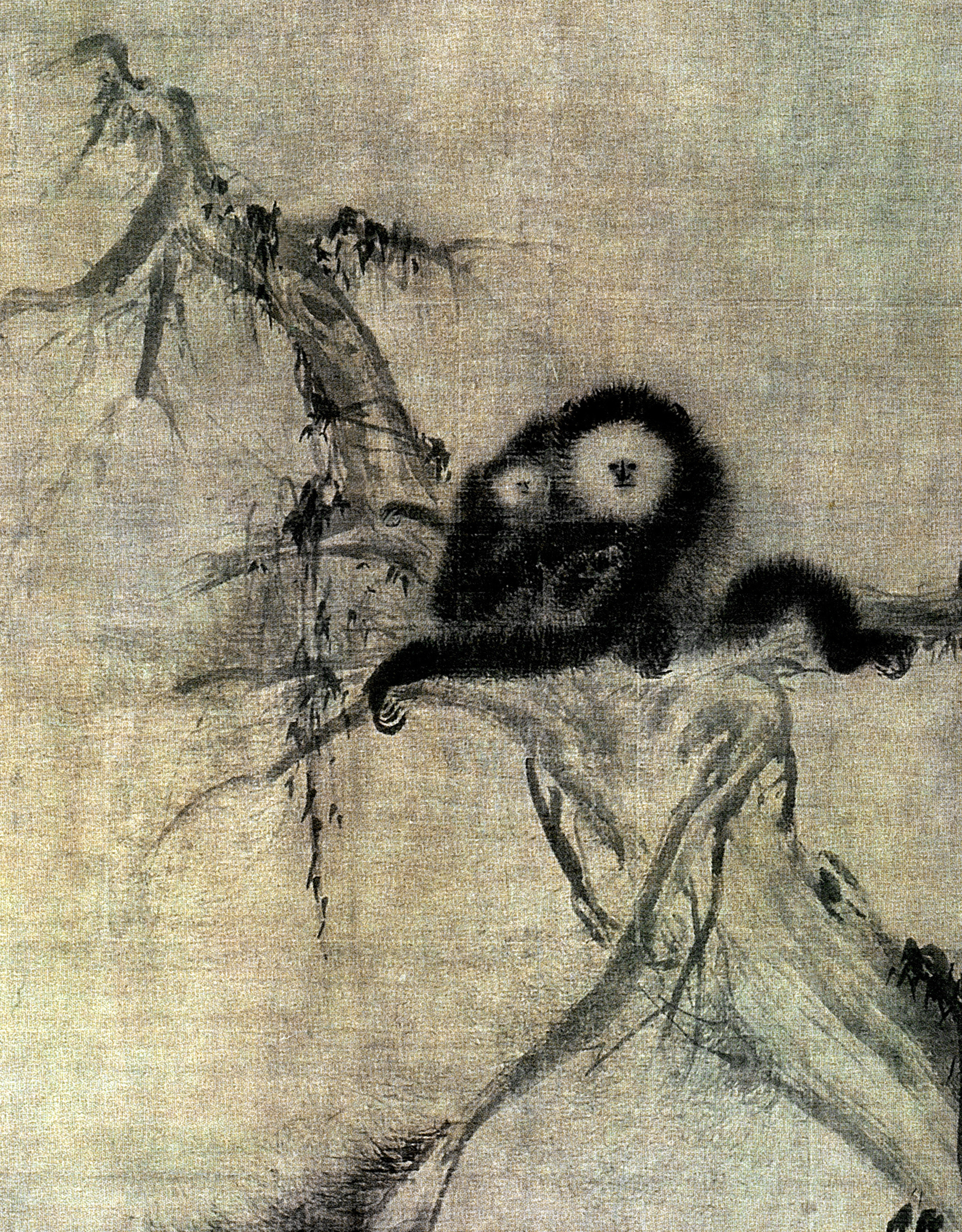 A painting of a gibbon mother and baby by Song Dynasty master painter Muqi (ca. early 13th century). Muqi's spare, expressive style influenced painters in Japan and Korea after Zen Buddhists rediscovered his work in later centuries. Image courtesy of the Huntington Archive, University of Chicago