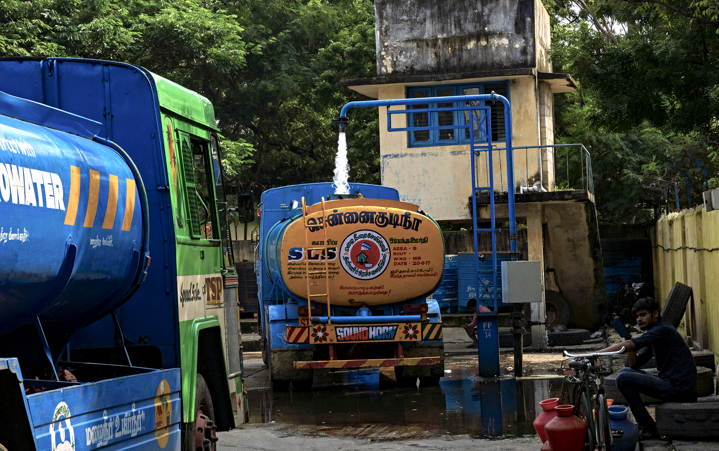 Water trucks supply drinking water throughout Chennai during the summer months. Unfortunately, the water they provide comes from underground aquifers, which are connected to wetland ecosystems, tanks, lakes, and rivers throughout the region.