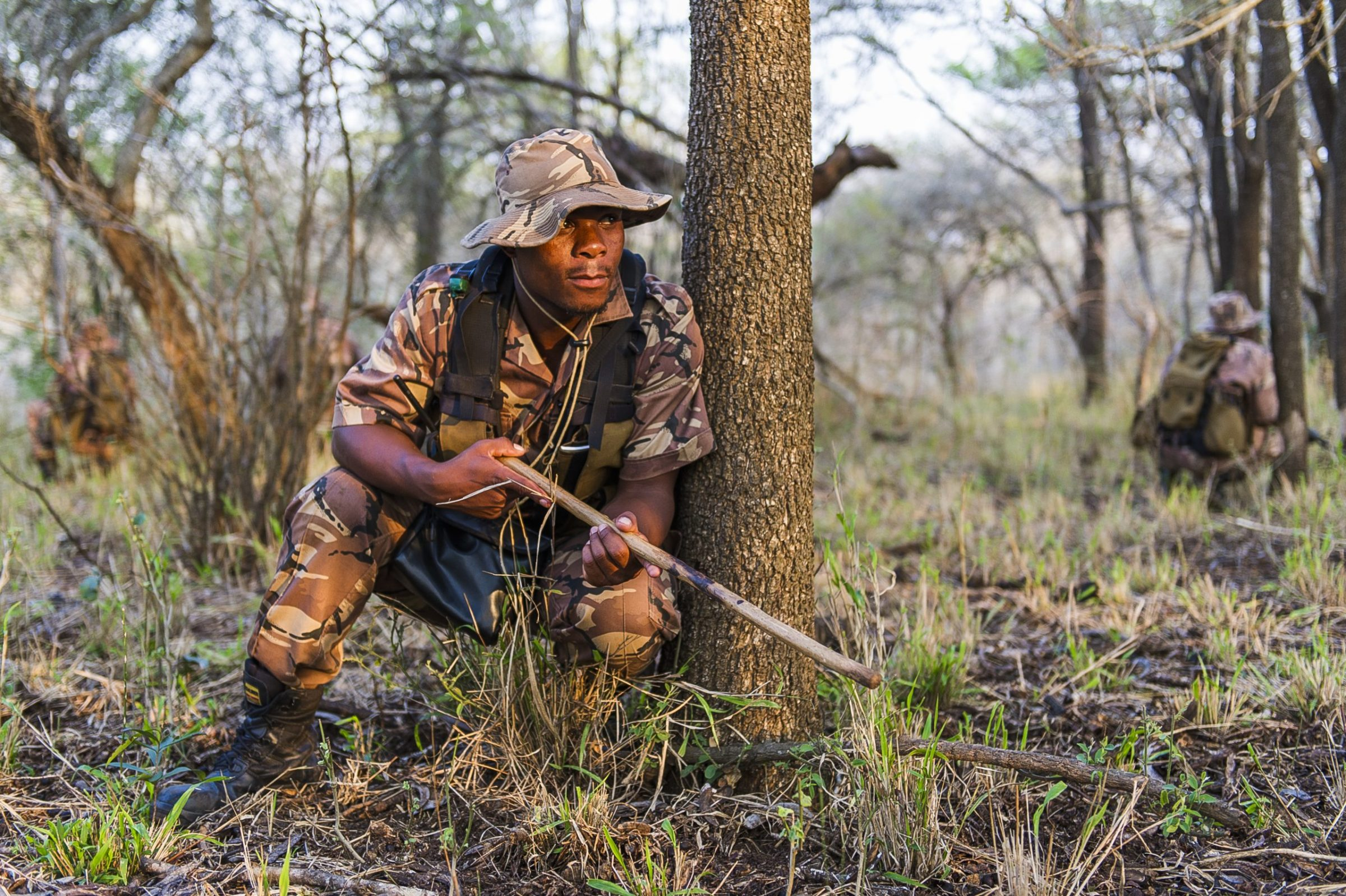Field rangers undergo anti-poaching training in the Somkhanda Private Game Reserve, KwaZulu Natal, South Africa.