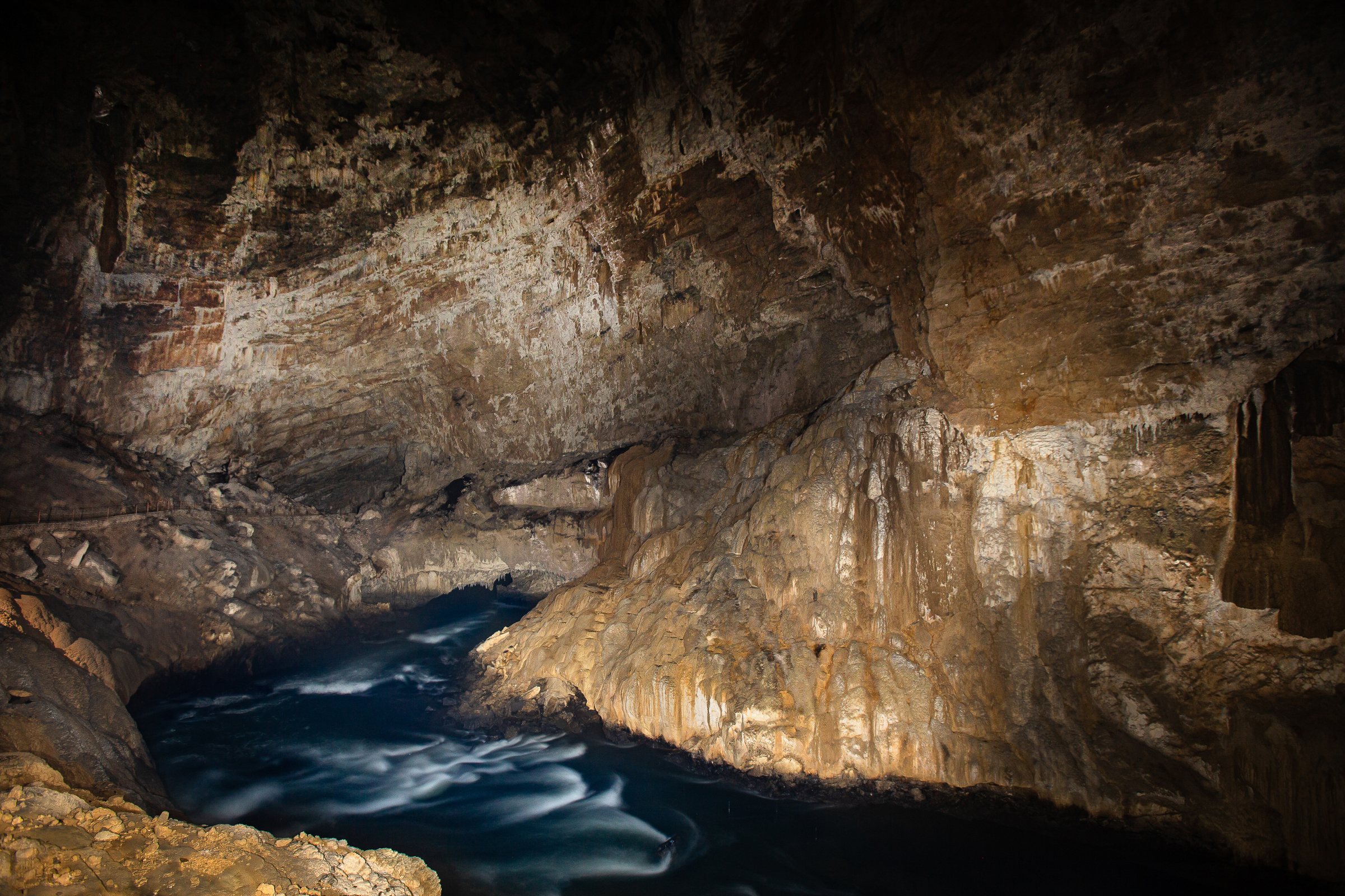 Planina Cave, one location where white olms live, contains the confluence of two major subterranean rivers.