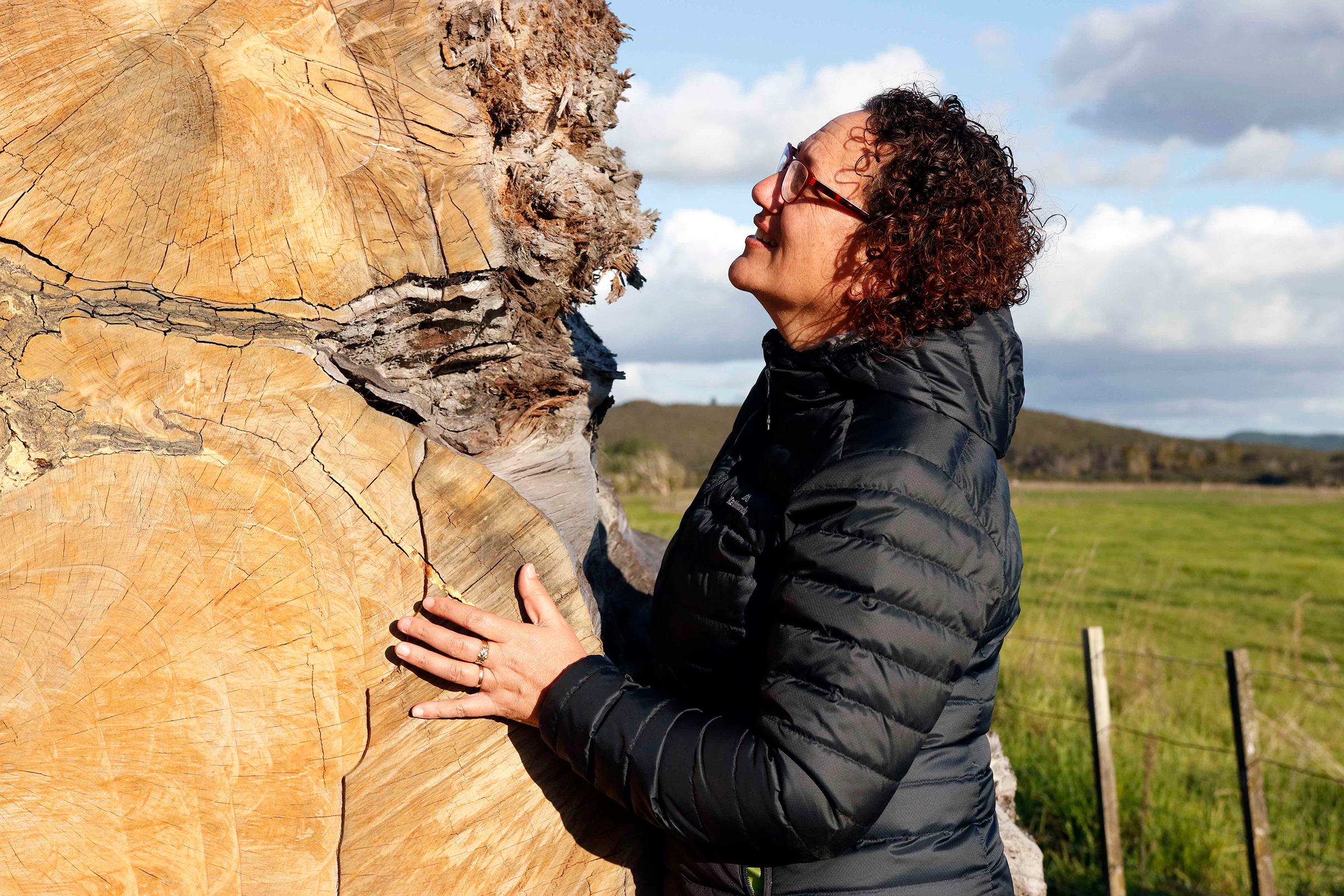 Donna Tukariri sees herself as a kaitiaki, or guardian, of the ancient kauri log. Eventually, it will likely be divided up and shared among the wider Ngāpuhi tribe, to be used for cultural purposes like carving. Photograph by Kate Evans.
