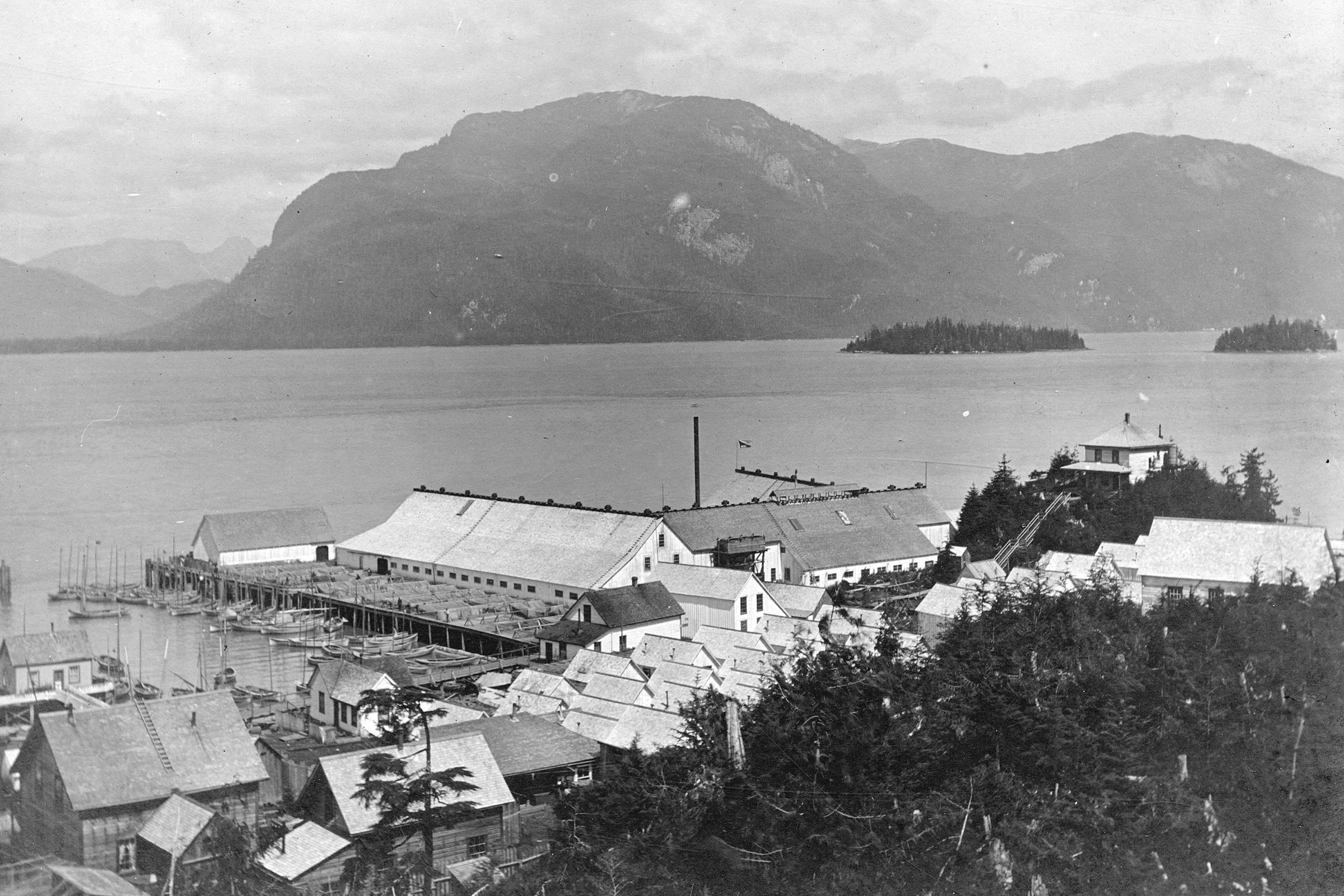 In 1926, Port Essington was a thriving community, based solely on the catching and canning of salmon. Photograph courtesy of the City of Vancouver Archive