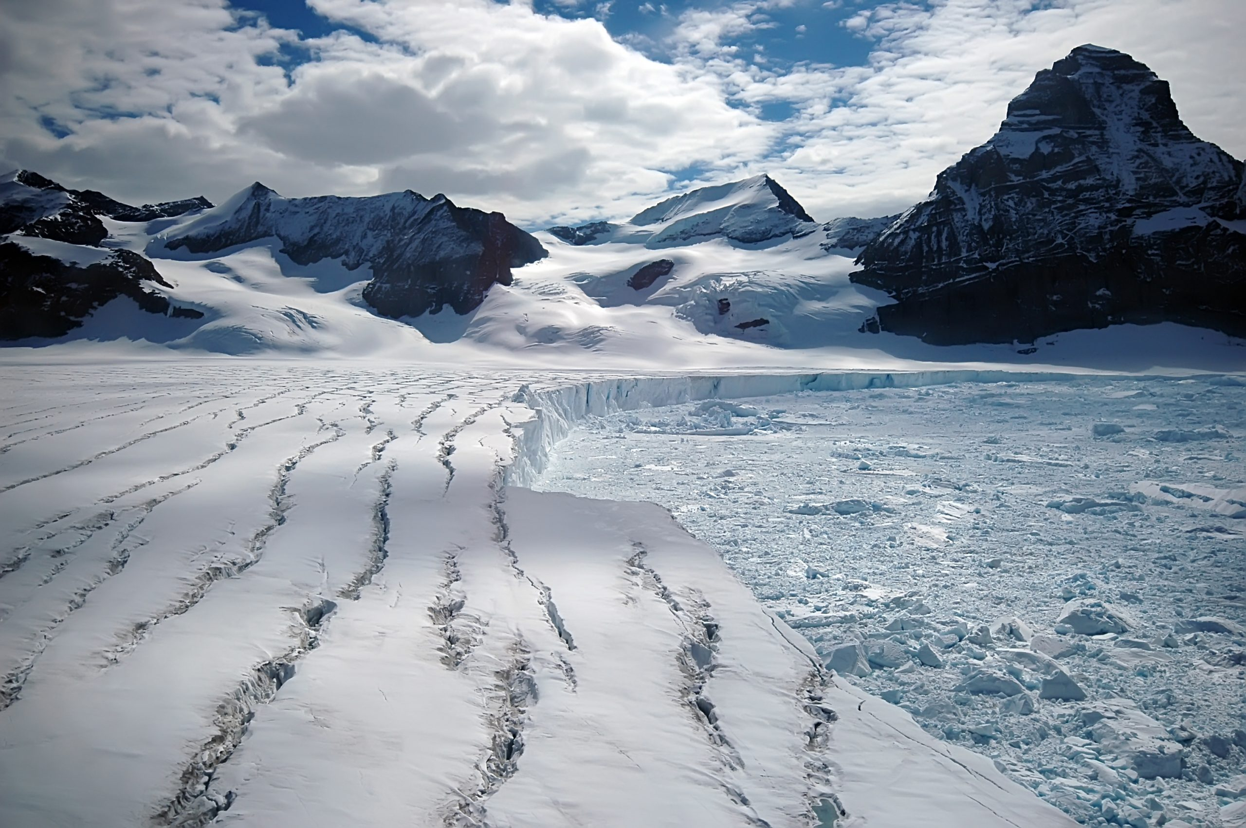This Antarctic glacier is one of the remains of the once huge Larsen B ice shelf, which infamously collapsed in 2002 over the course of a single month. Such a large area of ice collapsing so quickly was an unprecedented event in scientific history. Photograph by Armin Rose / Shutterstock