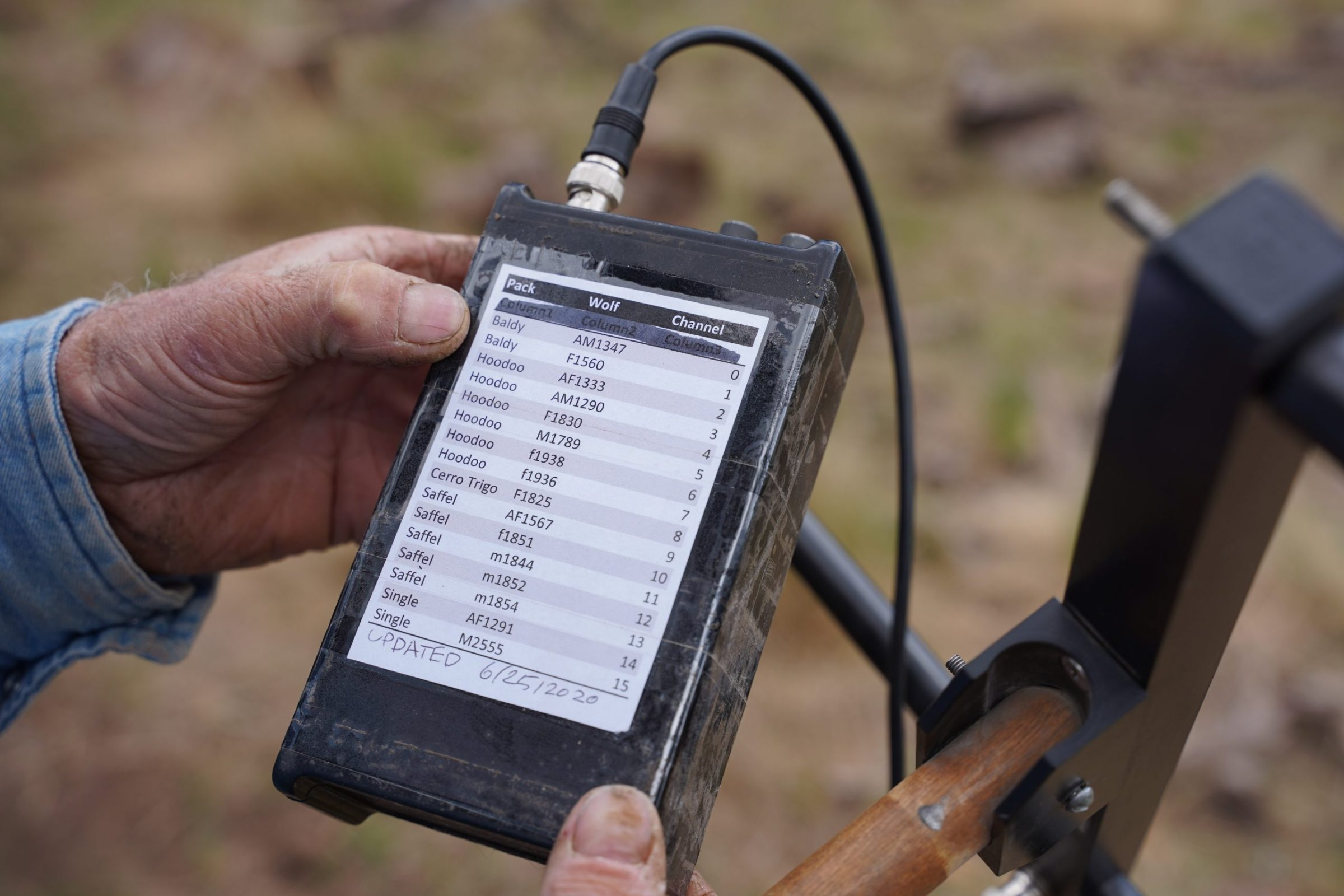Taped to the back of an electronic receiver—part of range rider Jay Brad Miller's toolkit for keeping track of wolf locations—is a list of wolves in the area. Biologists have assigned each animal its own ID number and radio frequency. Photograph by April Reese