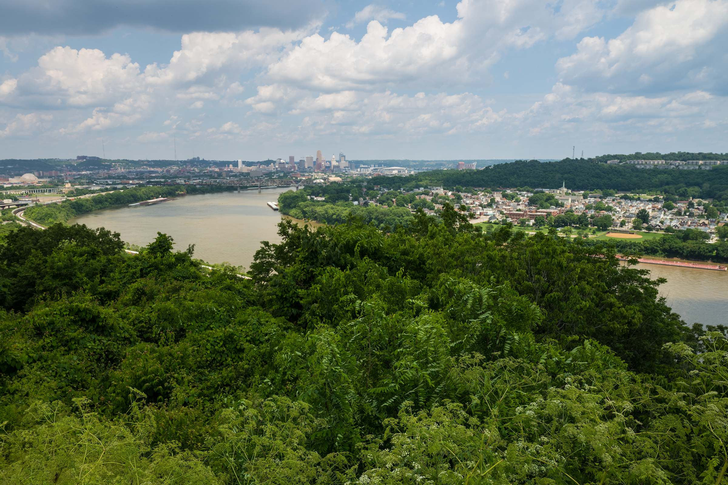 The Ohio River Valley, with downtown Cincinnati in the distance on a hot and humid evening in June of 2021