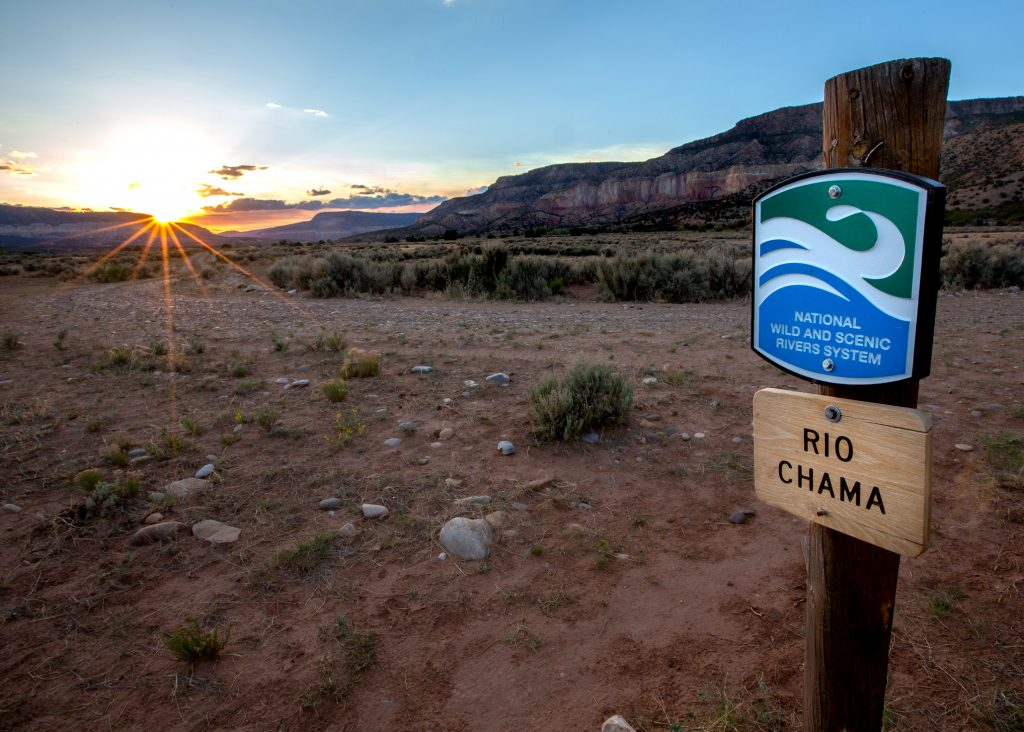 Sign designating the National Wild and Scenic section of the Rio Chama.